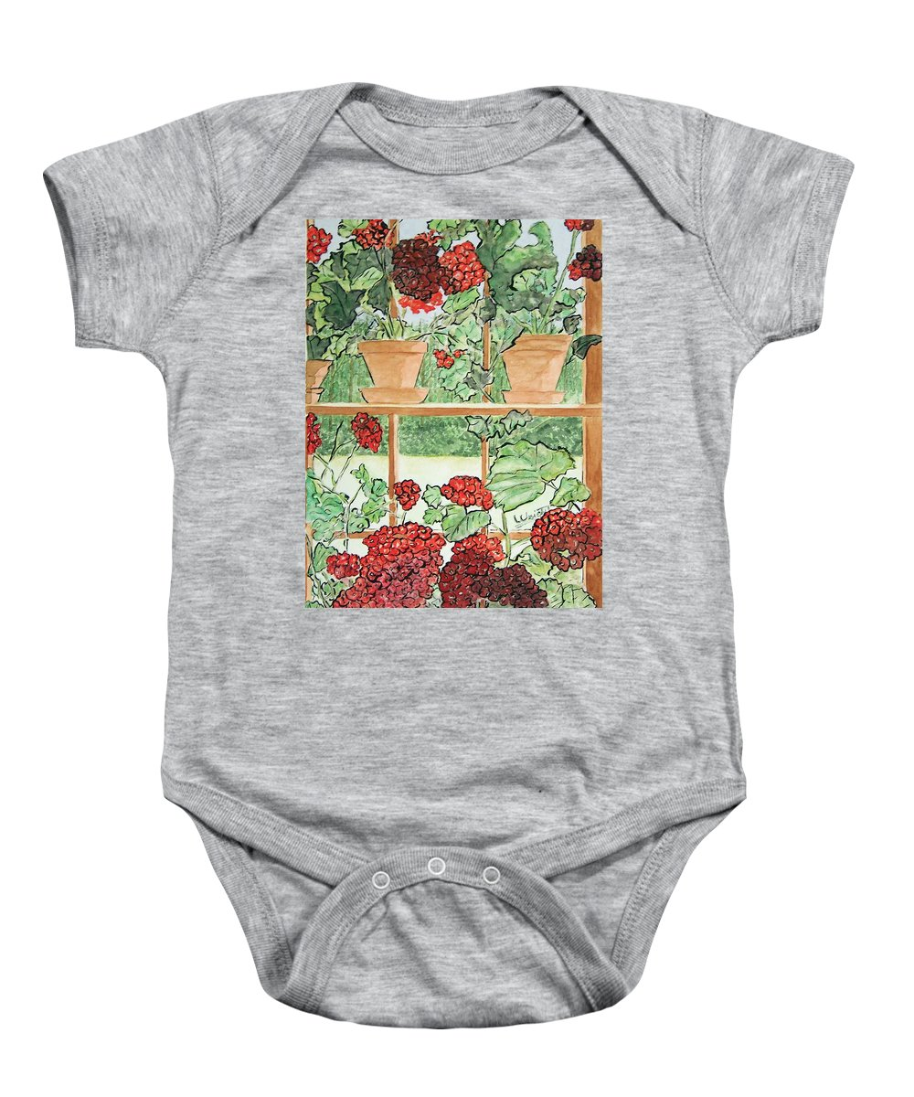 Wyeth Baby Onesie featuring the painting Wyeth's Maine Inside Out by Larry Wright
