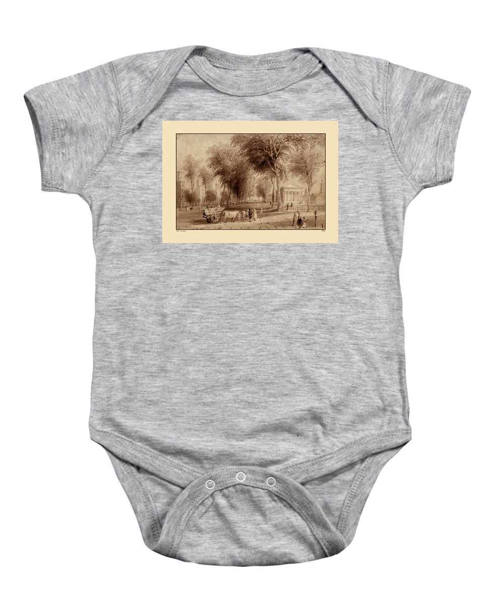 Yale Baby Onesie featuring the photograph Yale University 1836 by Andrew Fare