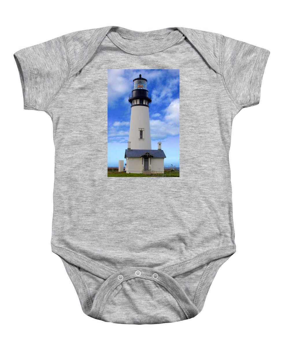 Yaquina Baby Onesie featuring the photograph Yaquina Head Lighthouse by Todd Kreuter
