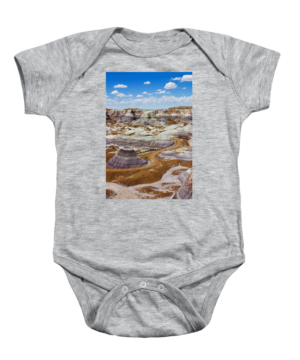 Painted Desert Baby Onesie featuring the photograph Yea Though I Walk by Skip Hunt