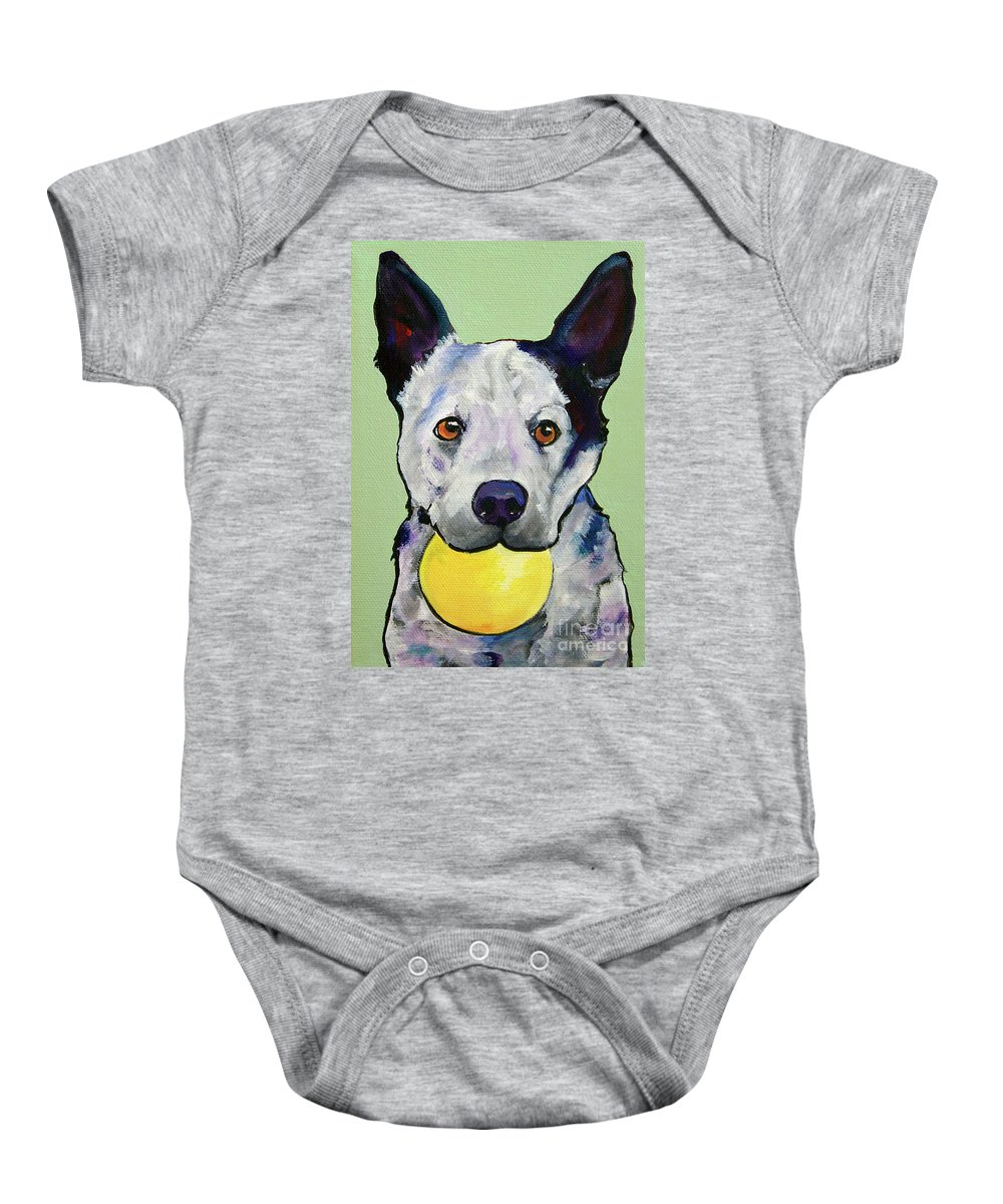 Australian Cattle Dog Baby Onesie featuring the painting Yellow Ball by Pat Saunders-White