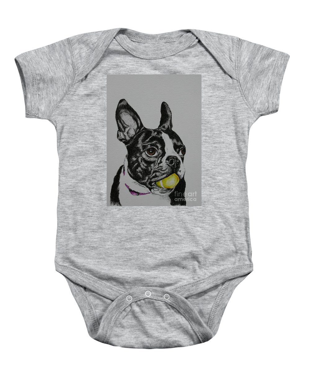 Boston Terrier Baby Onesie featuring the mixed media Yellow Ball by Susan Herber