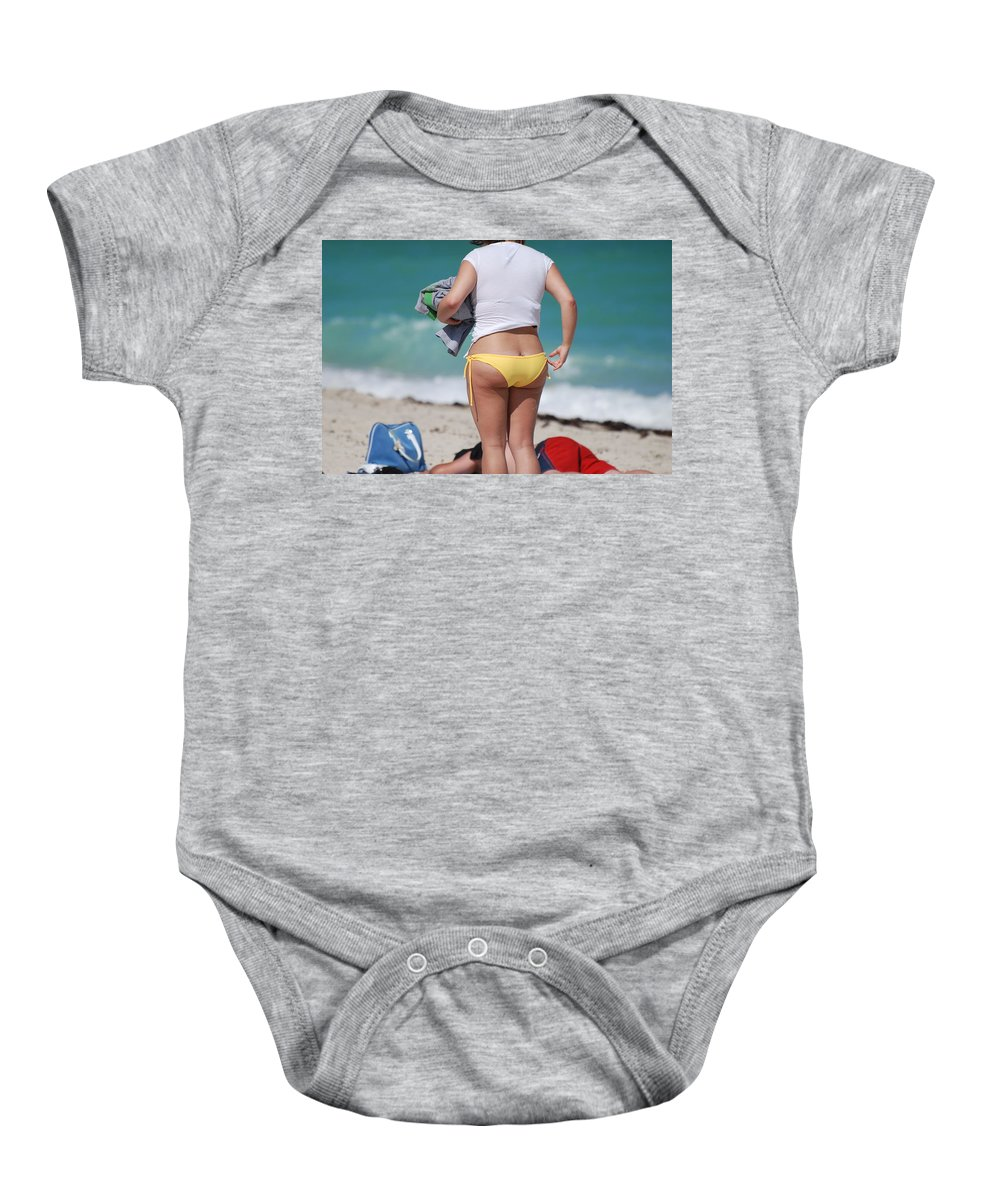 Sea Scape Baby Onesie featuring the photograph Yellow Bikini Bottom by Rob Hans