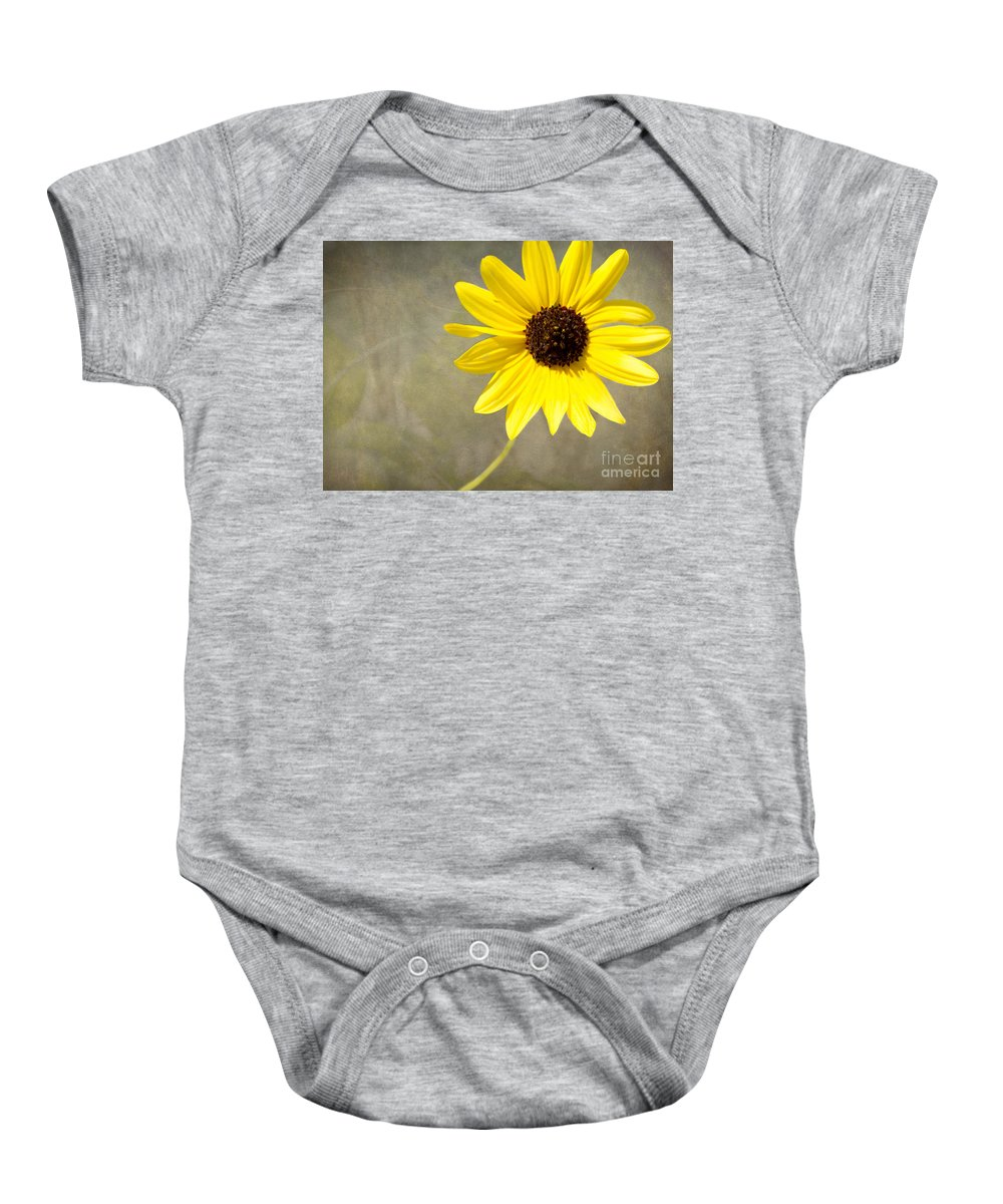 Daisy Baby Onesie featuring the photograph Yellow Daisy By Darrell Hutto by J Darrell Hutto