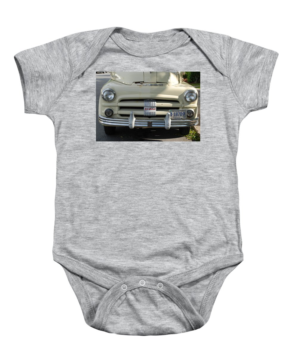 Truck Baby Onesie featuring the photograph Yellow Dodge by Rob Hans