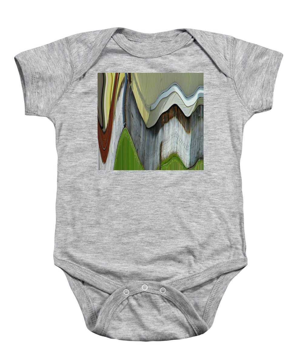 Abstract Baby Onesie featuring the digital art Yellow House by Lenore Senior