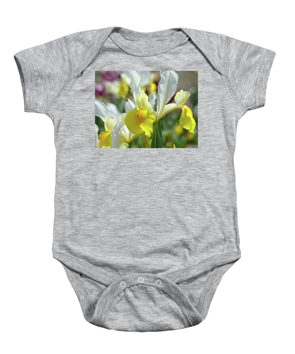 �irises Artwork� Baby Onesie featuring the photograph Yellow Irises Flowers Iris Flower Art Print Floral Botanical Art Baslee Troutman by Baslee Troutman