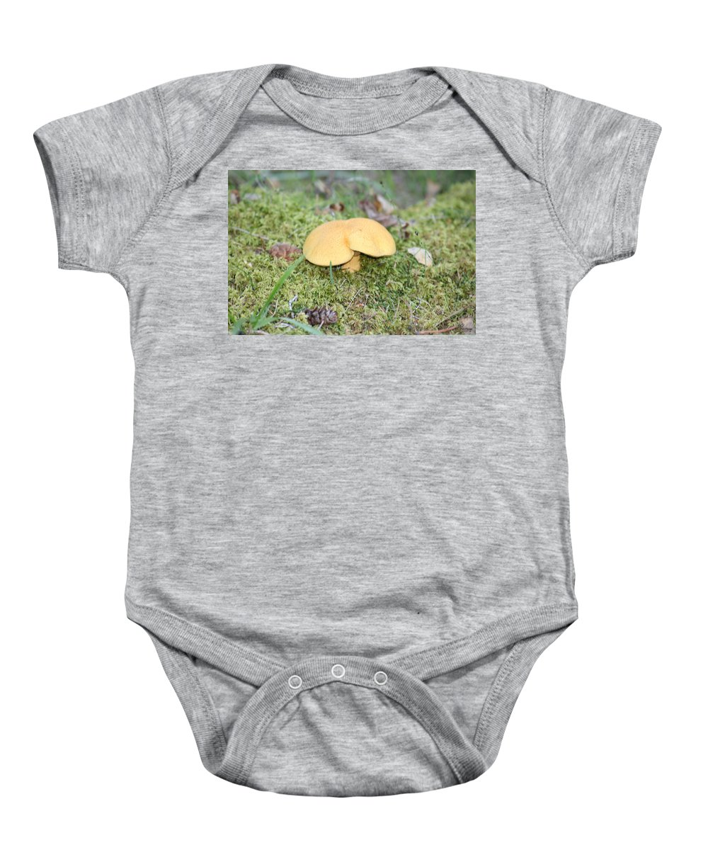 Mushrooms Nature Plants Wild Moss Acorns Forest Baby Onesie featuring the photograph Yellow Mushroom by Andrea Lawrence