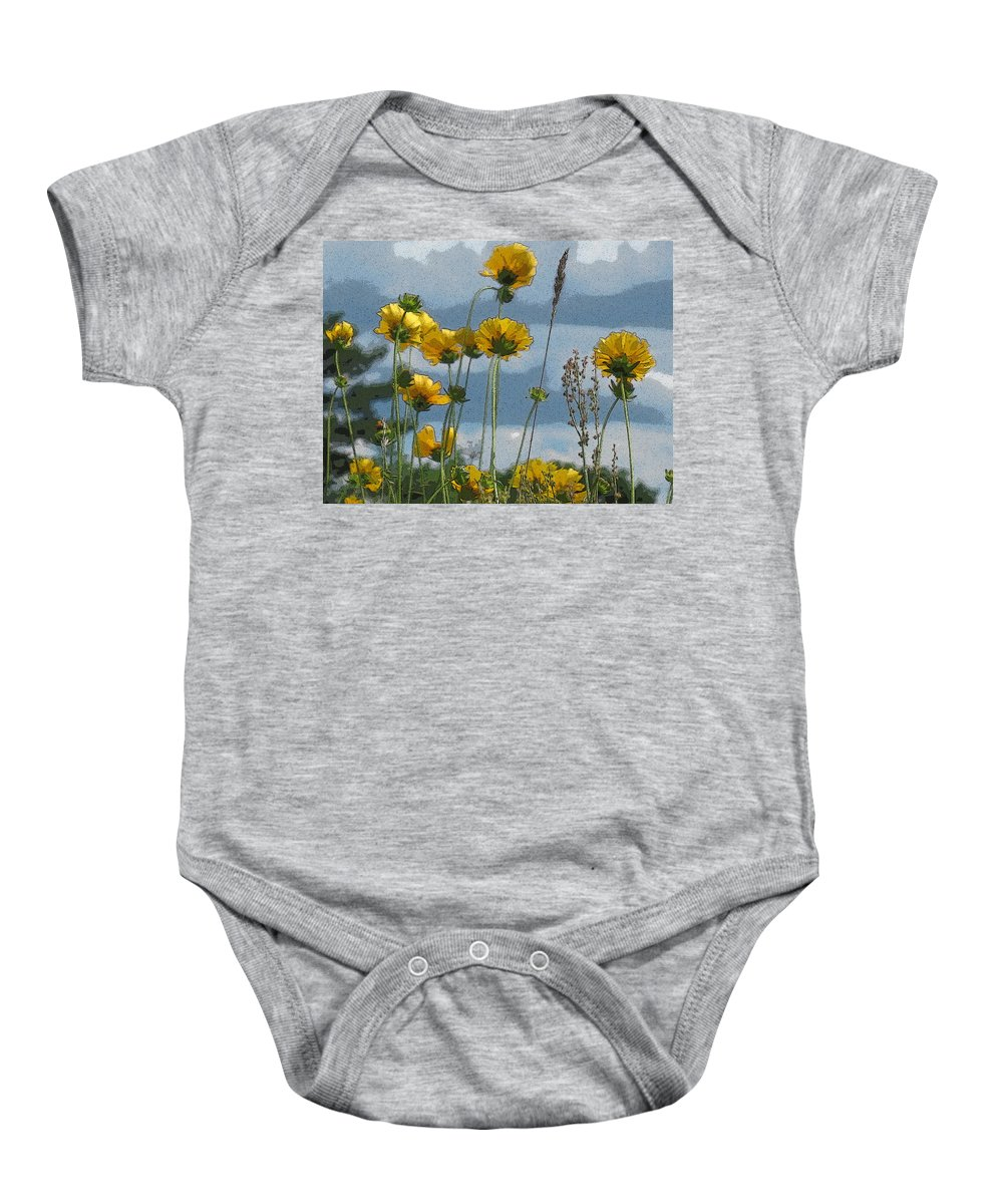 Flowers Baby Onesie featuring the photograph Yellow N Blue by Nancie DeMellia