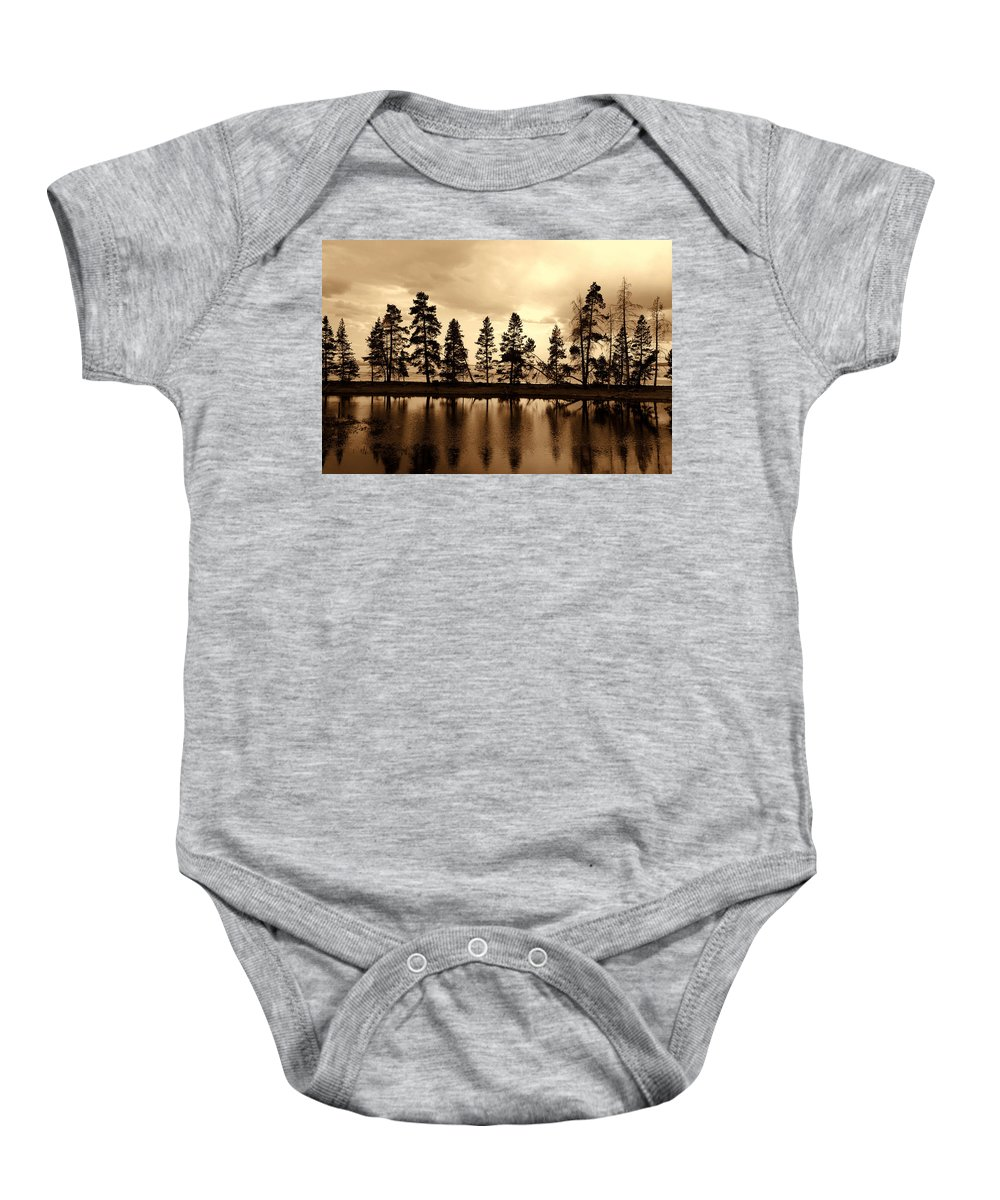 Photography Baby Onesie featuring the photograph Yellowstone Lake by Susanne Van Hulst