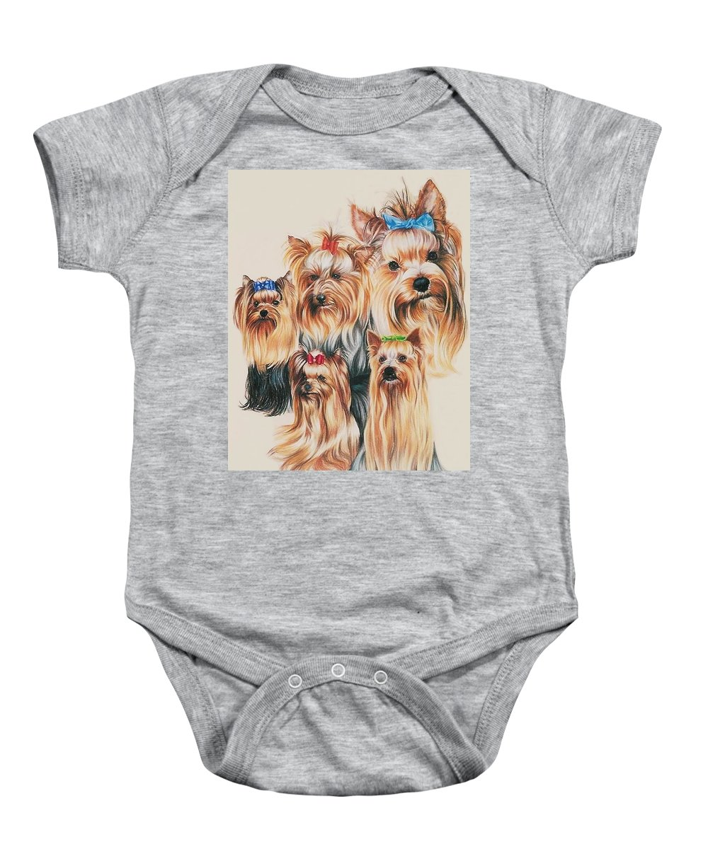 Purebred Baby Onesie featuring the drawing Yorkshire Terrier by Barbara Keith