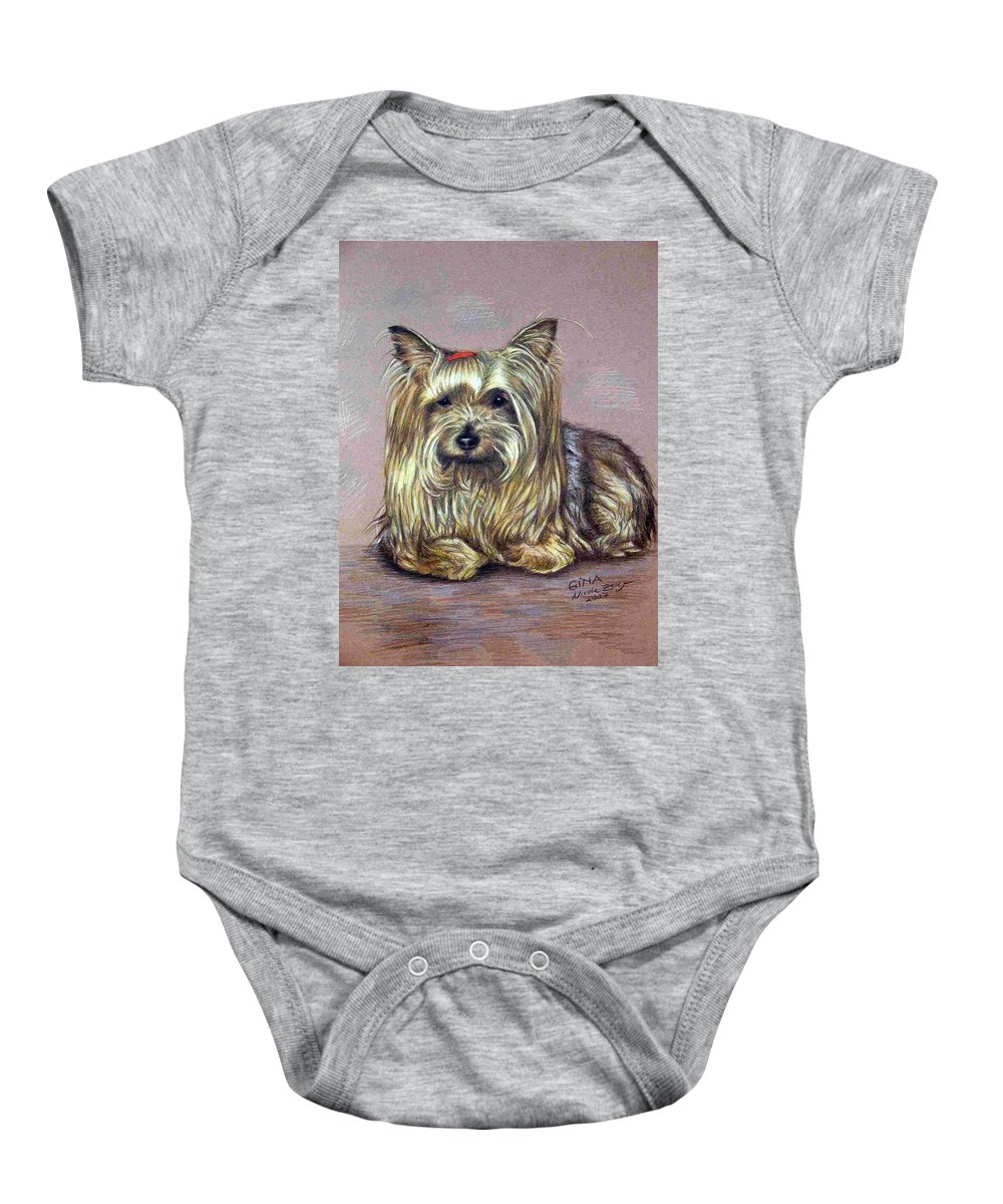 Dog Baby Onesie featuring the drawing Yorkshire Terrier by Nicole Zeug