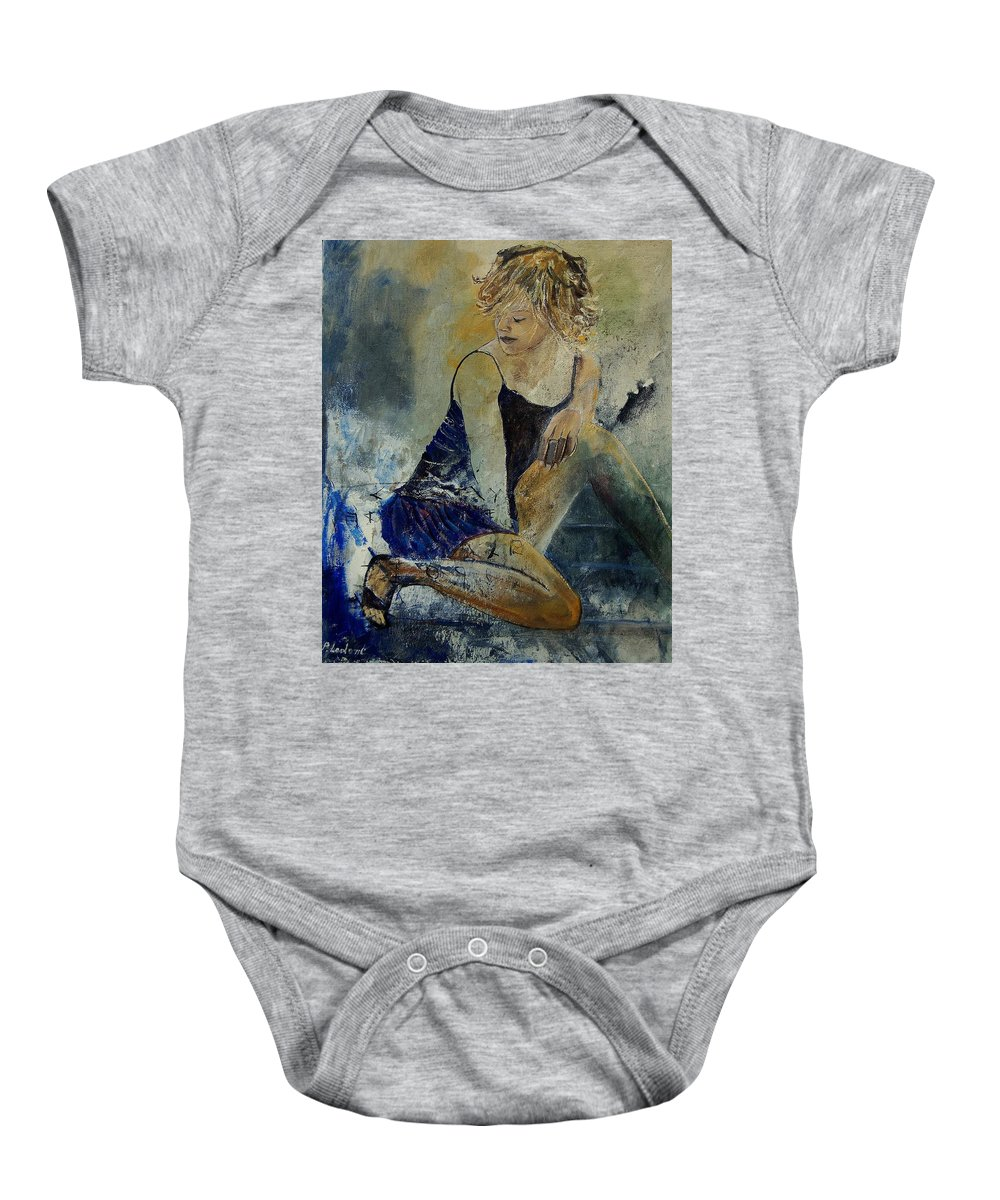Nude Baby Onesie featuring the painting Young Girl 5689474 by Pol Ledent