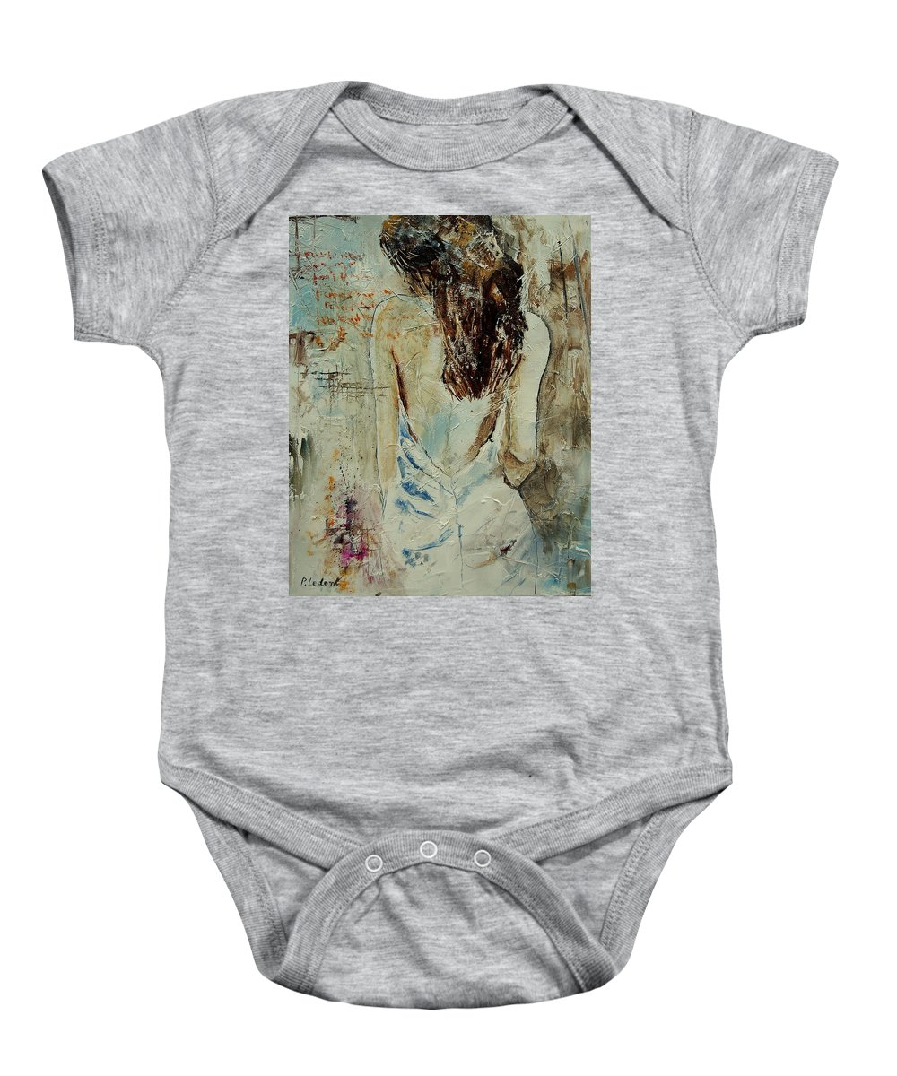 Nude Baby Onesie featuring the painting Young Girl 64 by Pol Ledent