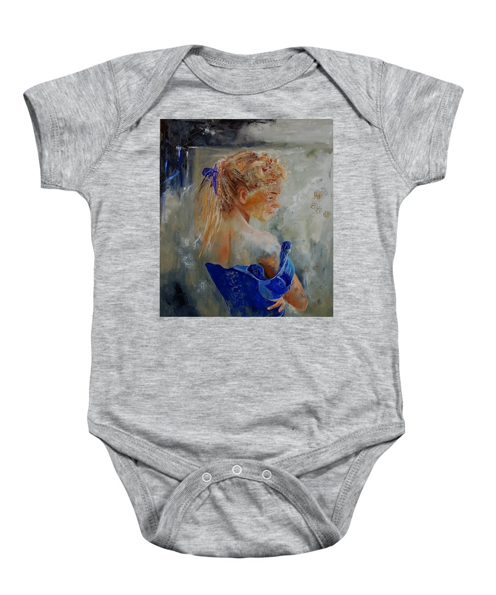 Gir Baby Onesie featuring the painting Young Girl 78 by Pol Ledent