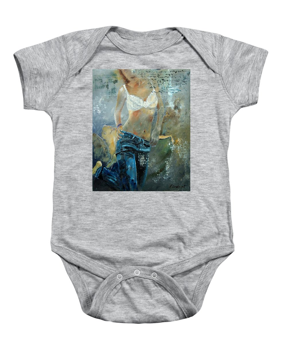 Girl Baby Onesie featuring the painting Young Girl In Jeans by Pol Ledent