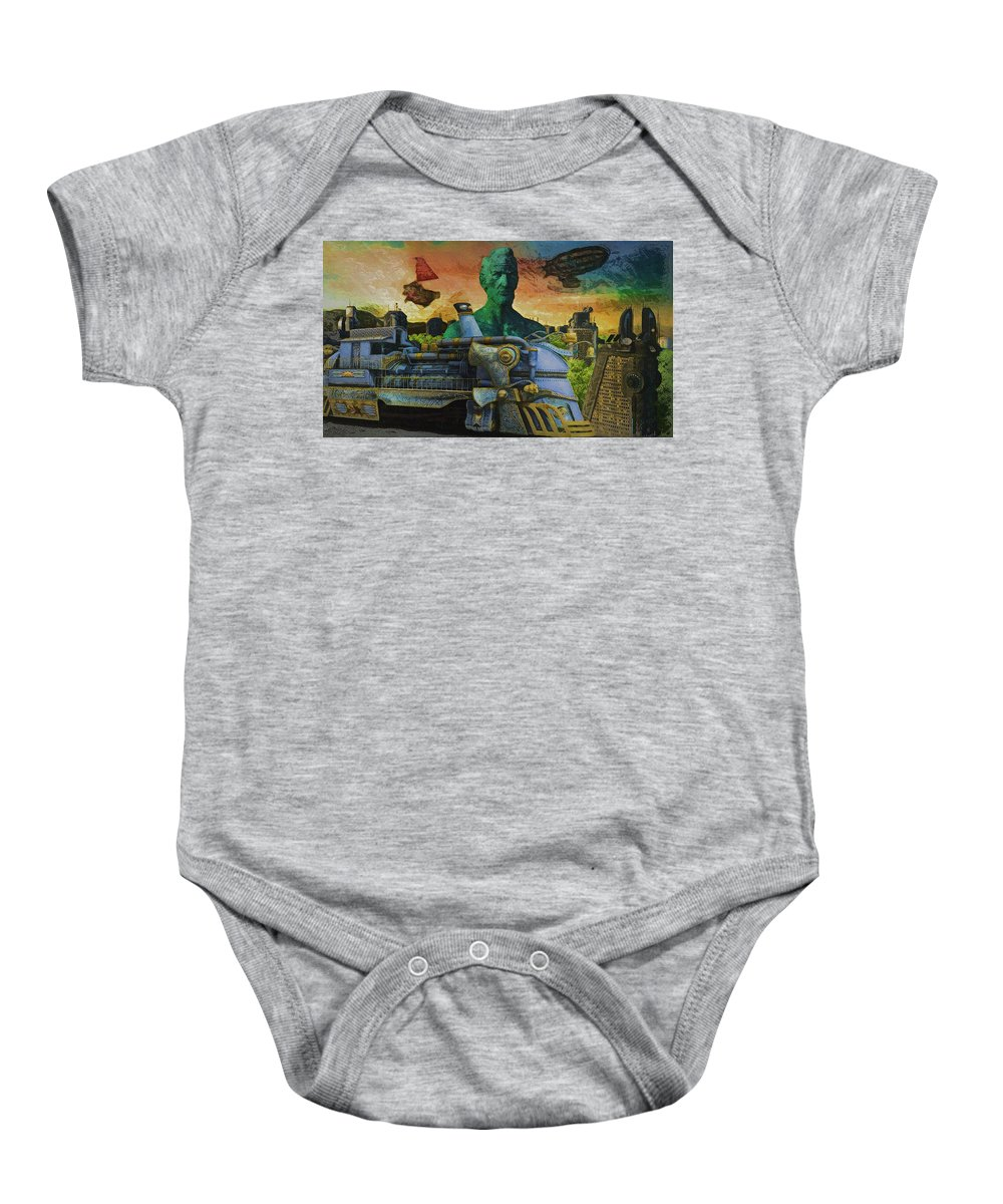 Abraham Lincoln Baby Onesie featuring the digital art Abe City Zephyr by Ron Beach