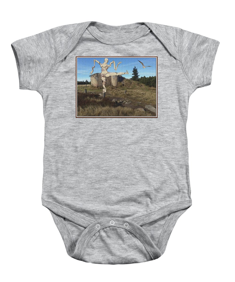 Modern Painting Baby Onesie featuring the mixed media Zombie Near The Ruins by Pemaro