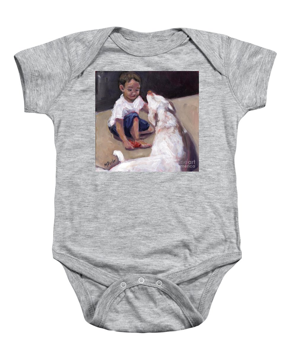 Boy And His Dog Baby Onesie featuring the painting Zoom Groom by Molly Poole