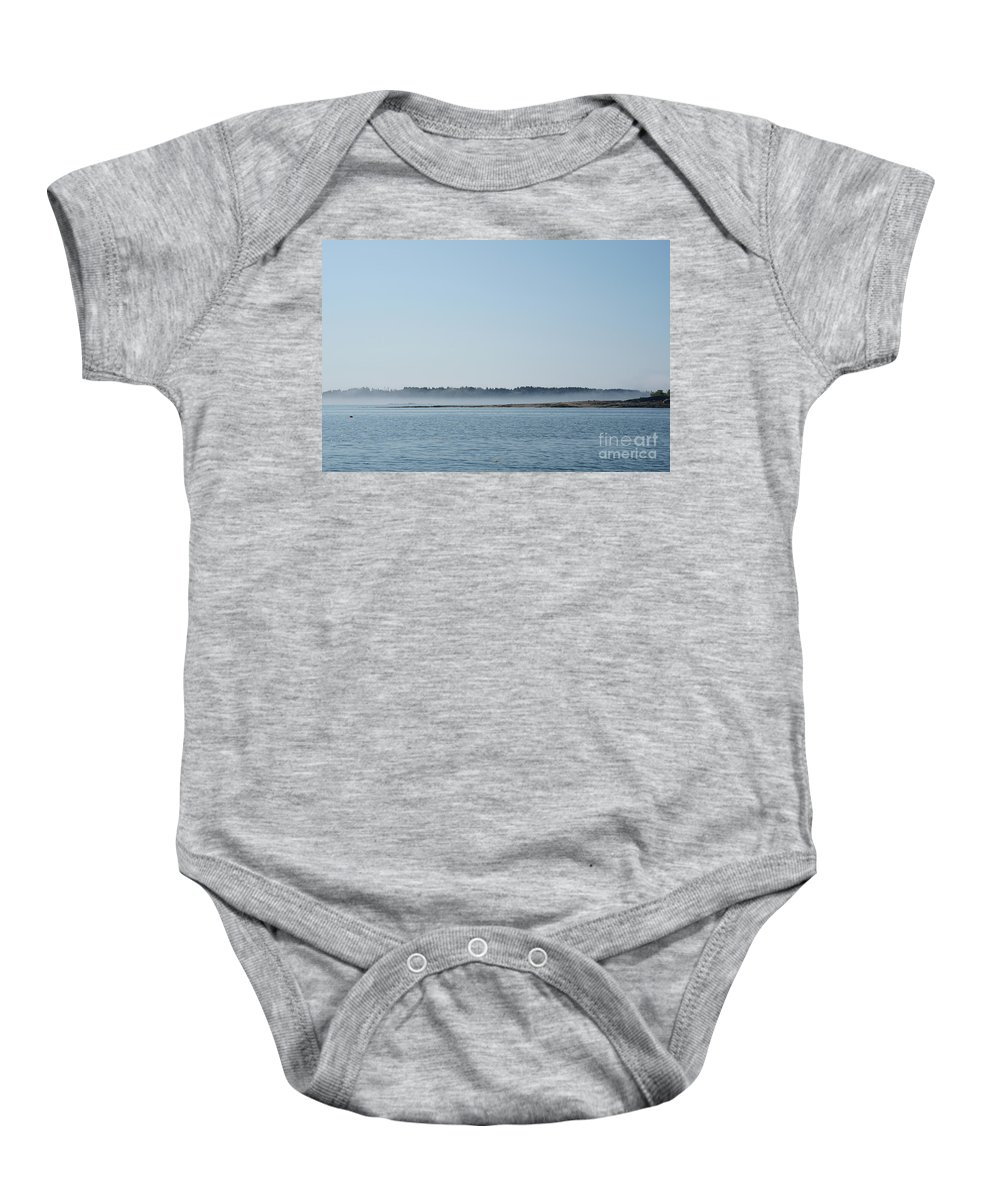 Maine Baby Onesie featuring the photograph Fog Over Southern Maine by Jacqueline Temkin