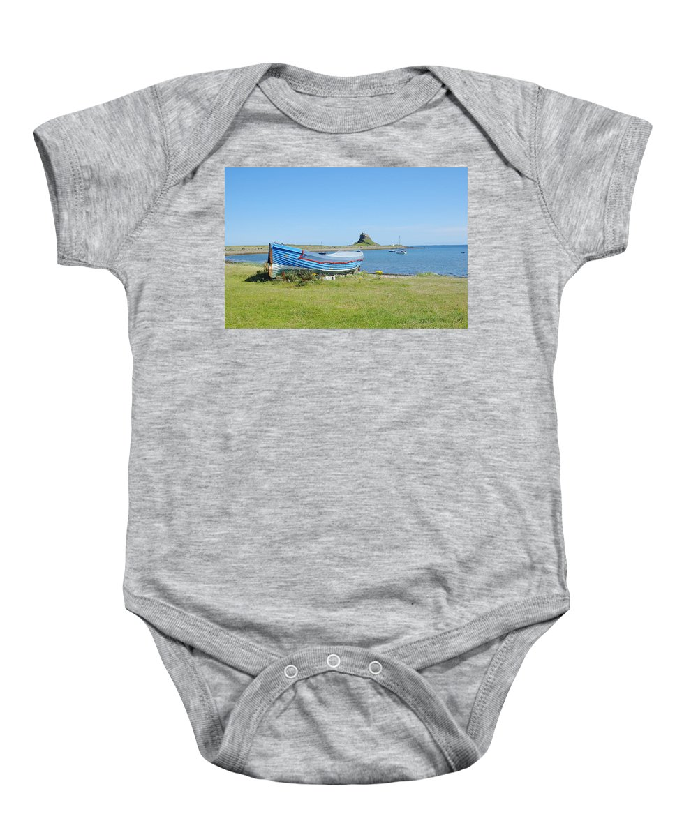 Lindisfarne Baby Onesie featuring the photograph Lindisfarne Castle, Bay And Boat by Victor Lord Denovan