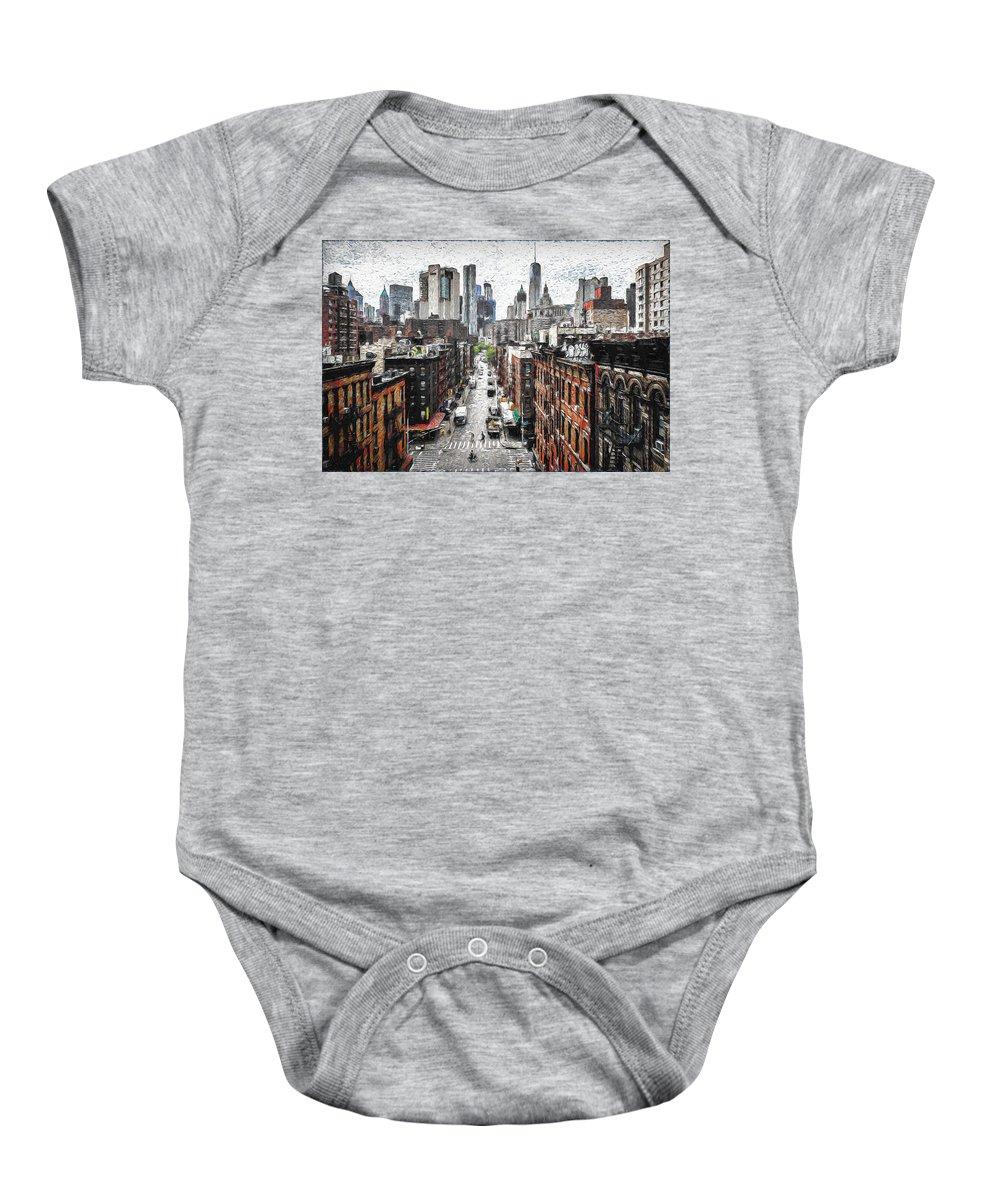 Manhattan Baby Onesie featuring the digital art Manhattan by Ronald Bolokofsky