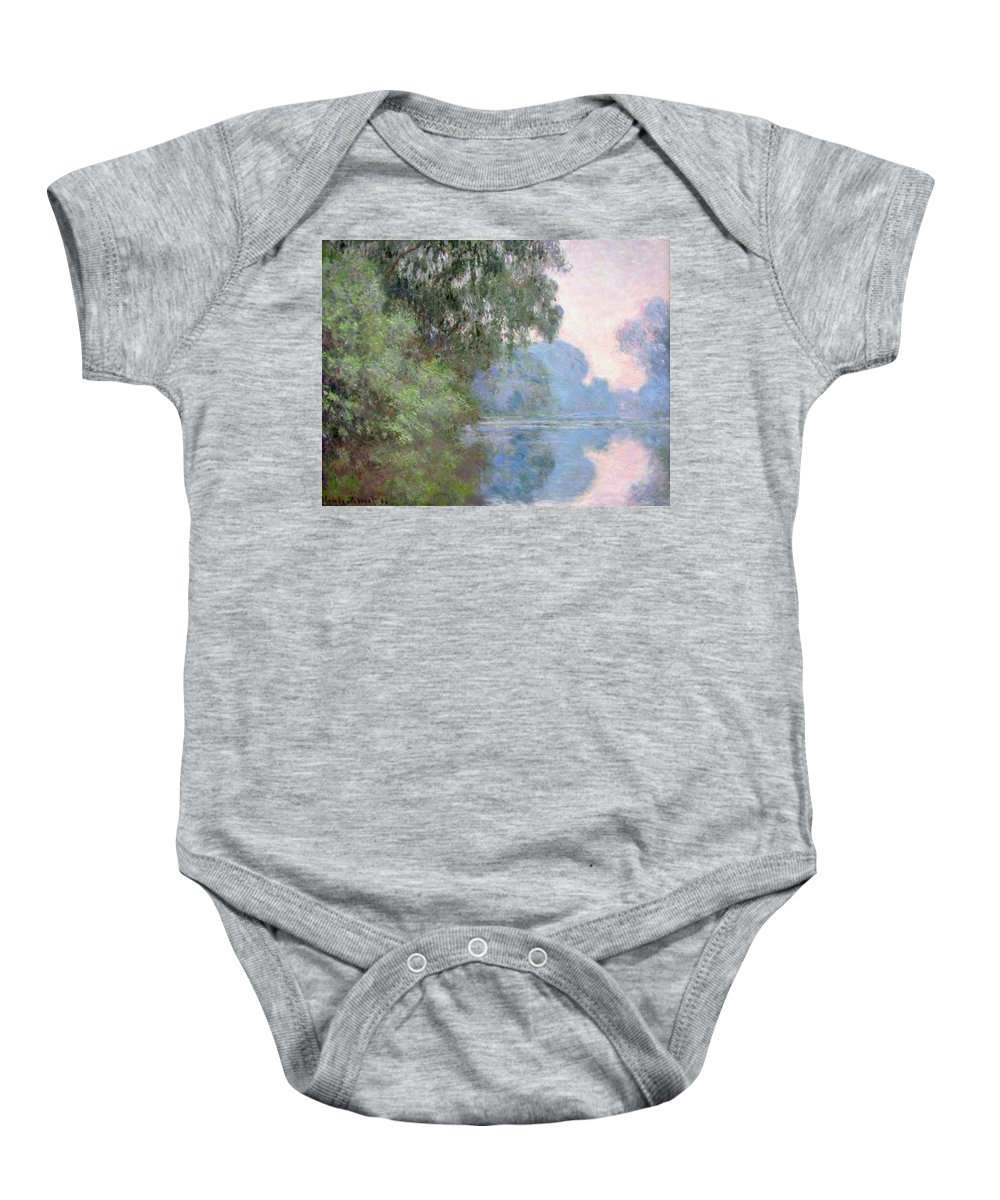 Claude Monet Baby Onesie featuring the painting Morning On The Seine Near Giverny, 1897 by Claude Monet