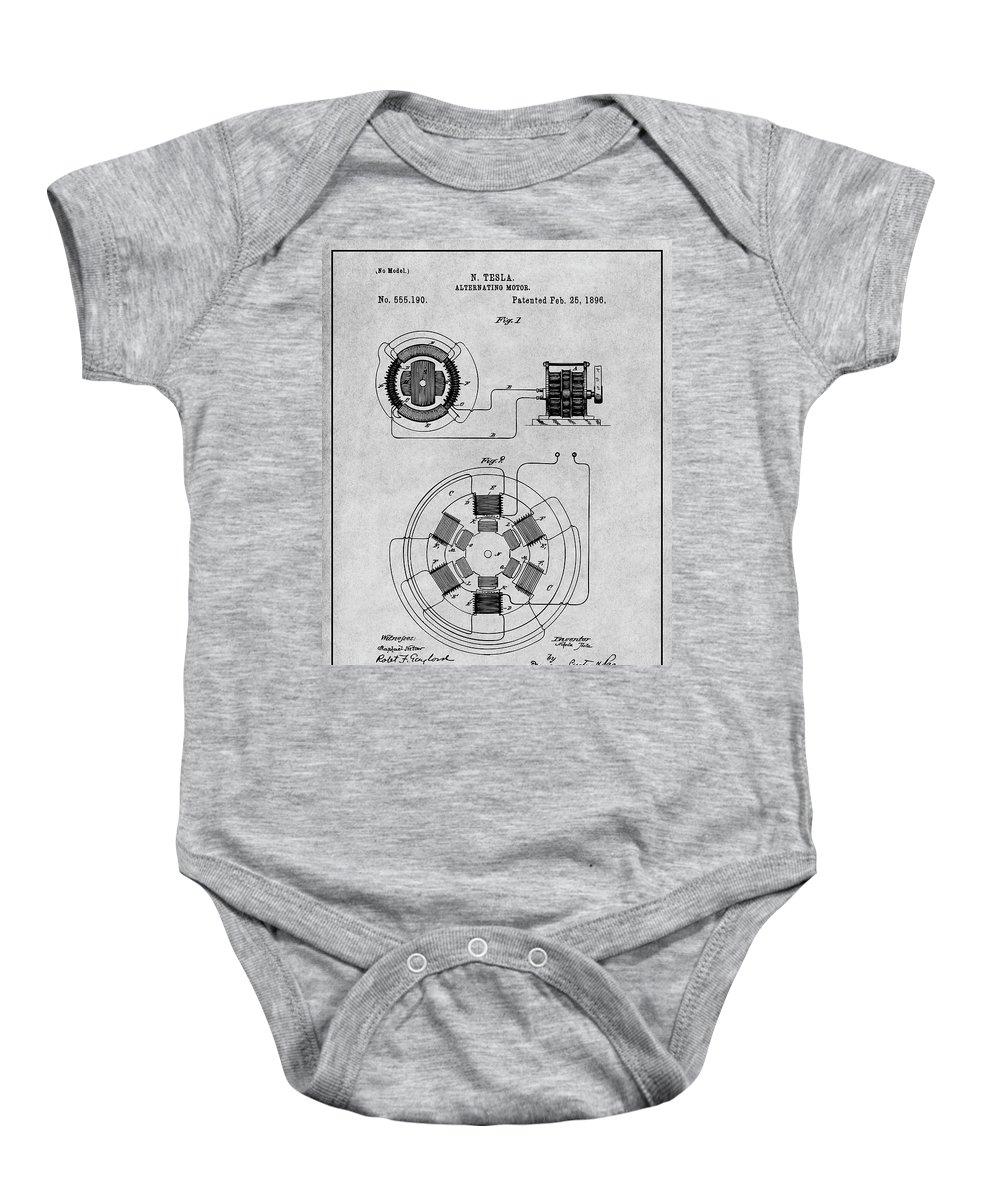 1896 Tesla Alternating Motor Baby Onesie featuring the drawing 1896 Tesla Alternating Motor Gray Patent Print by Greg Edwards