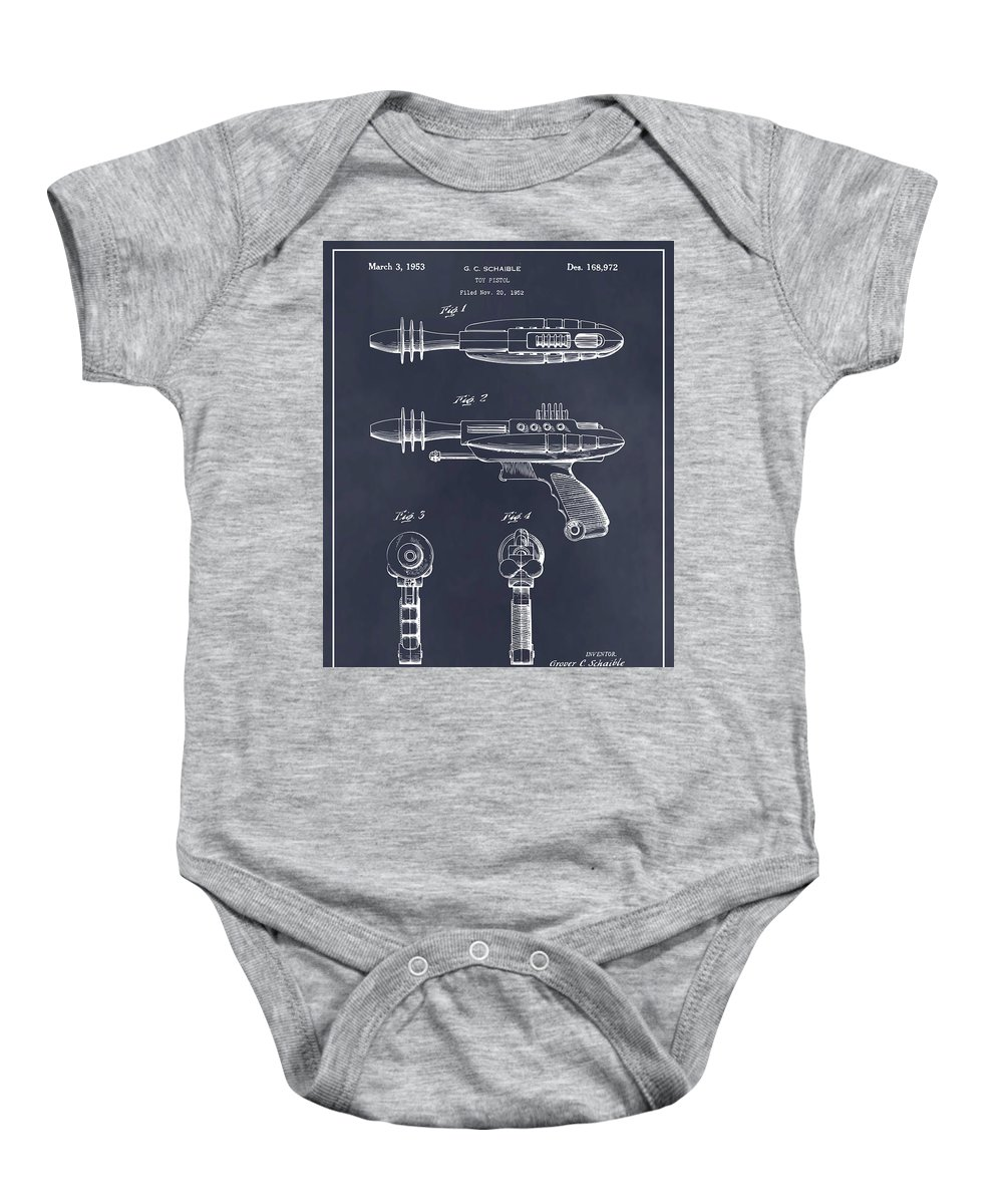 1953 Ray Gun Toy Pistol Patent Print Baby Onesie featuring the drawing 1953 Ray Gun Toy Pistol Blackboard Patent Print by Greg Edwards