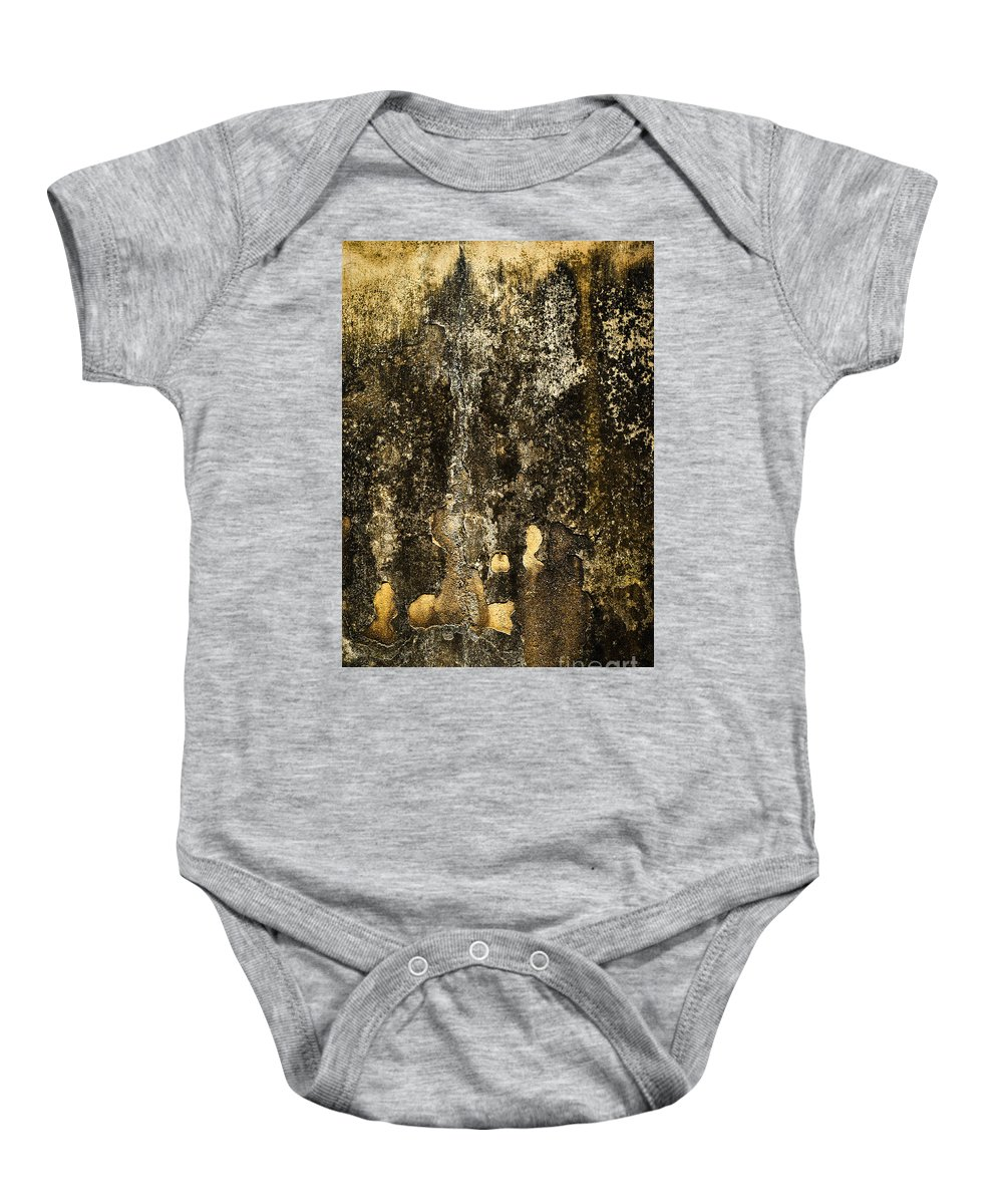 Colorful Baby Onesie featuring the photograph Abstract Scary Ocher Plaster by Jozef Jankola