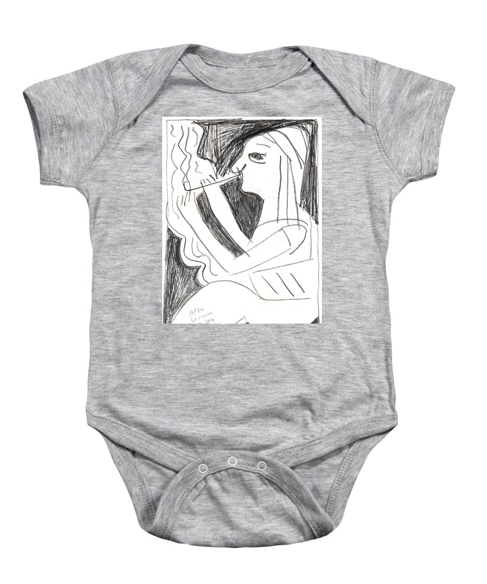 Michel Larionov Baby Onesie featuring the drawing After Mikhail Larionov Pencil Drawing 1 by Edgeworth DotBlog