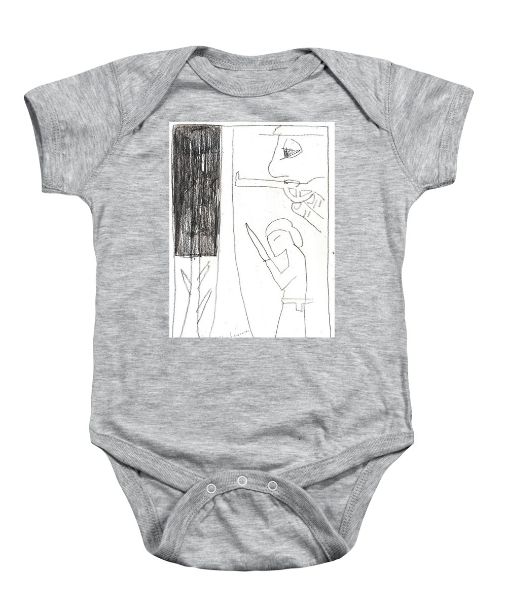 Michel Larionov Baby Onesie featuring the drawing After Mikhail Larionov Pencil Drawing 10 by Edgeworth DotBlog