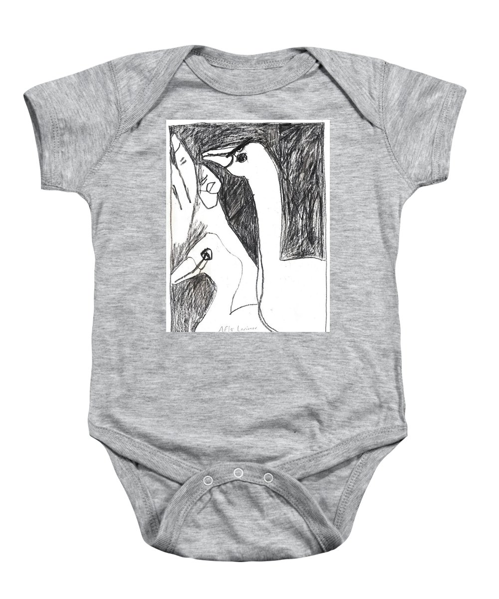 Michel Larionov Baby Onesie featuring the drawing After Mikhail Larionov Pencil Drawing 5 by Edgeworth DotBlog