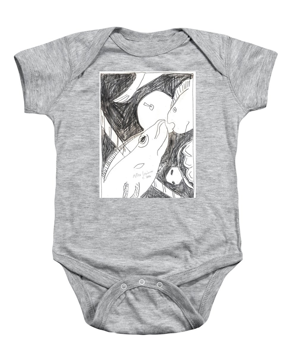 Michel Larionov Baby Onesie featuring the drawing After Mikhail Larionov Pencil Drawing 6 by Edgeworth DotBlog
