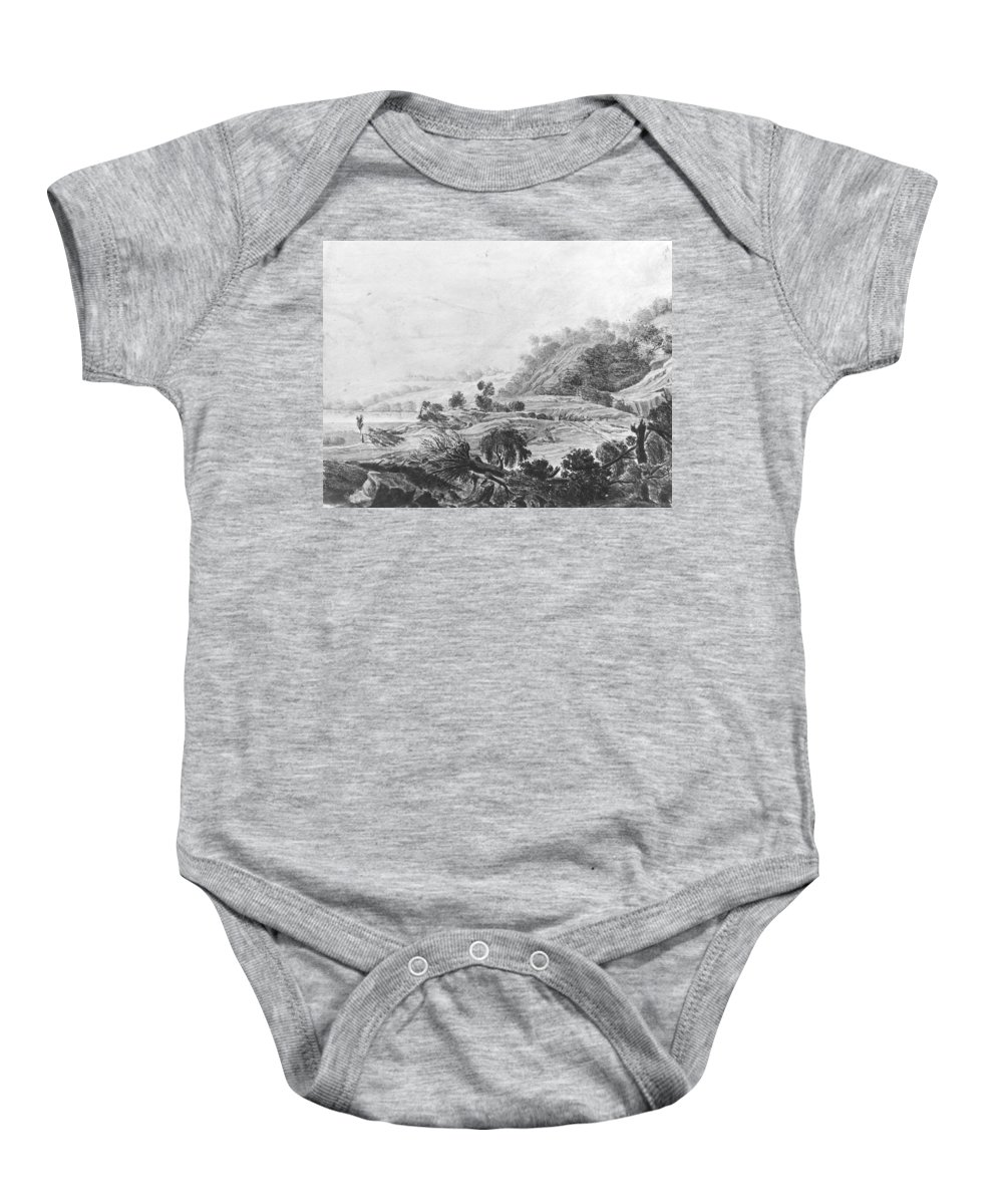Nature Baby Onesie featuring the painting After The Tornado Pavel Petrovich Svinin 1787 88-1839 by Pavel Petrovich Svinin