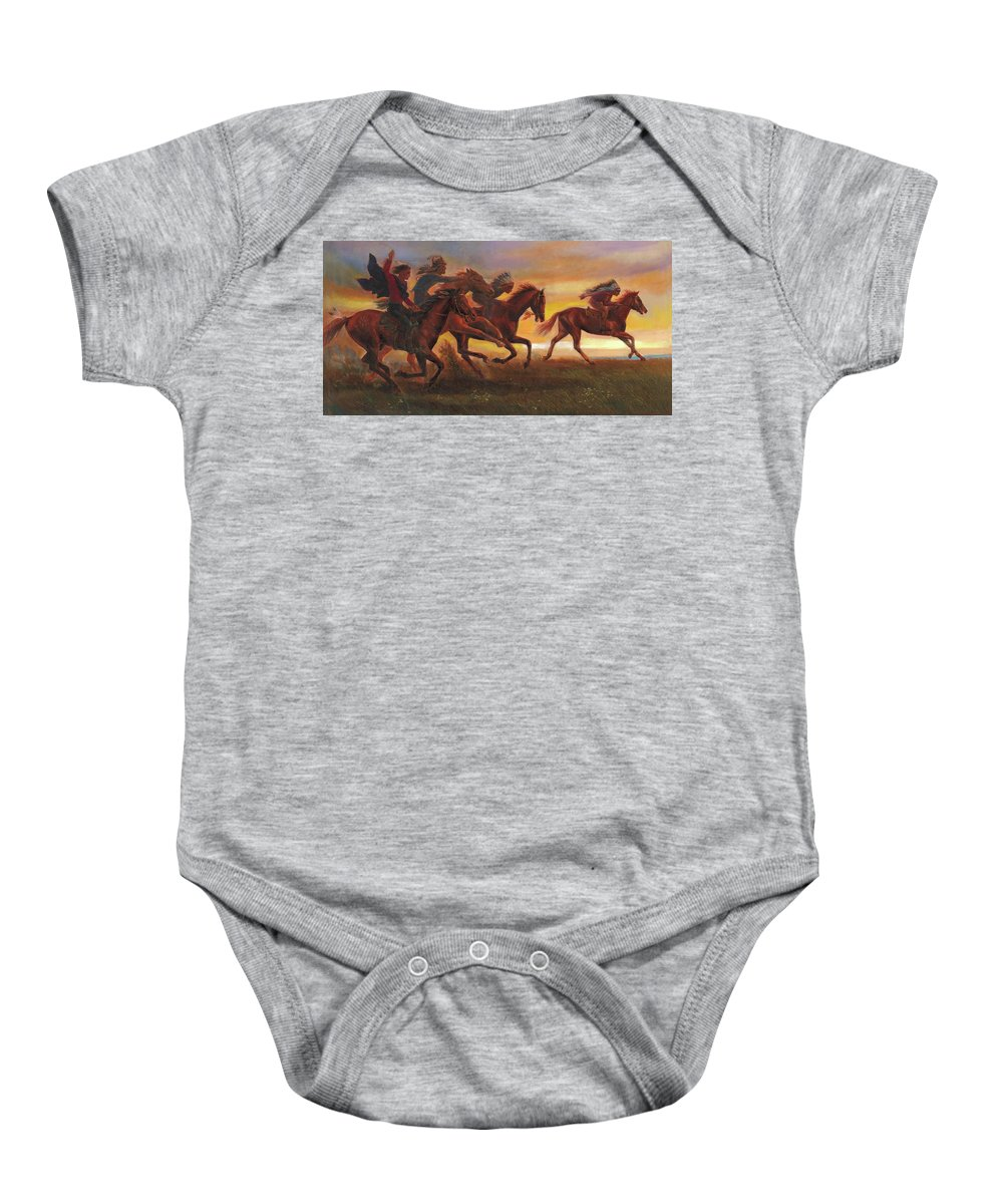 Horse Baby Onesie featuring the painting American Natives Riding On Horses by Svitozar Nenyuk