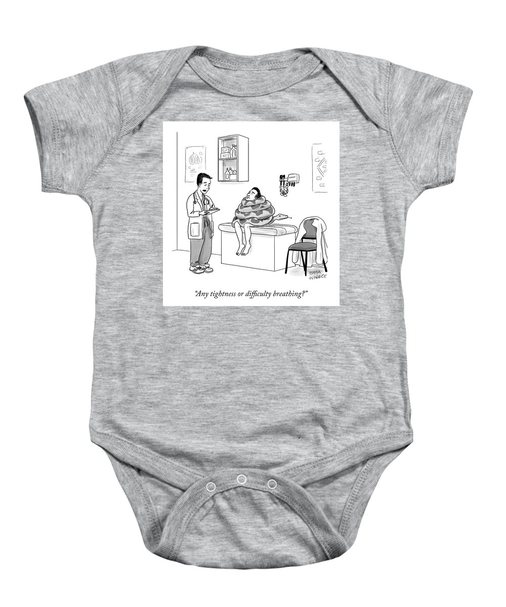 Any Tightness Or Difficulty Breathing? Baby Onesie featuring the drawing Any Tightness? by Sofia Warren