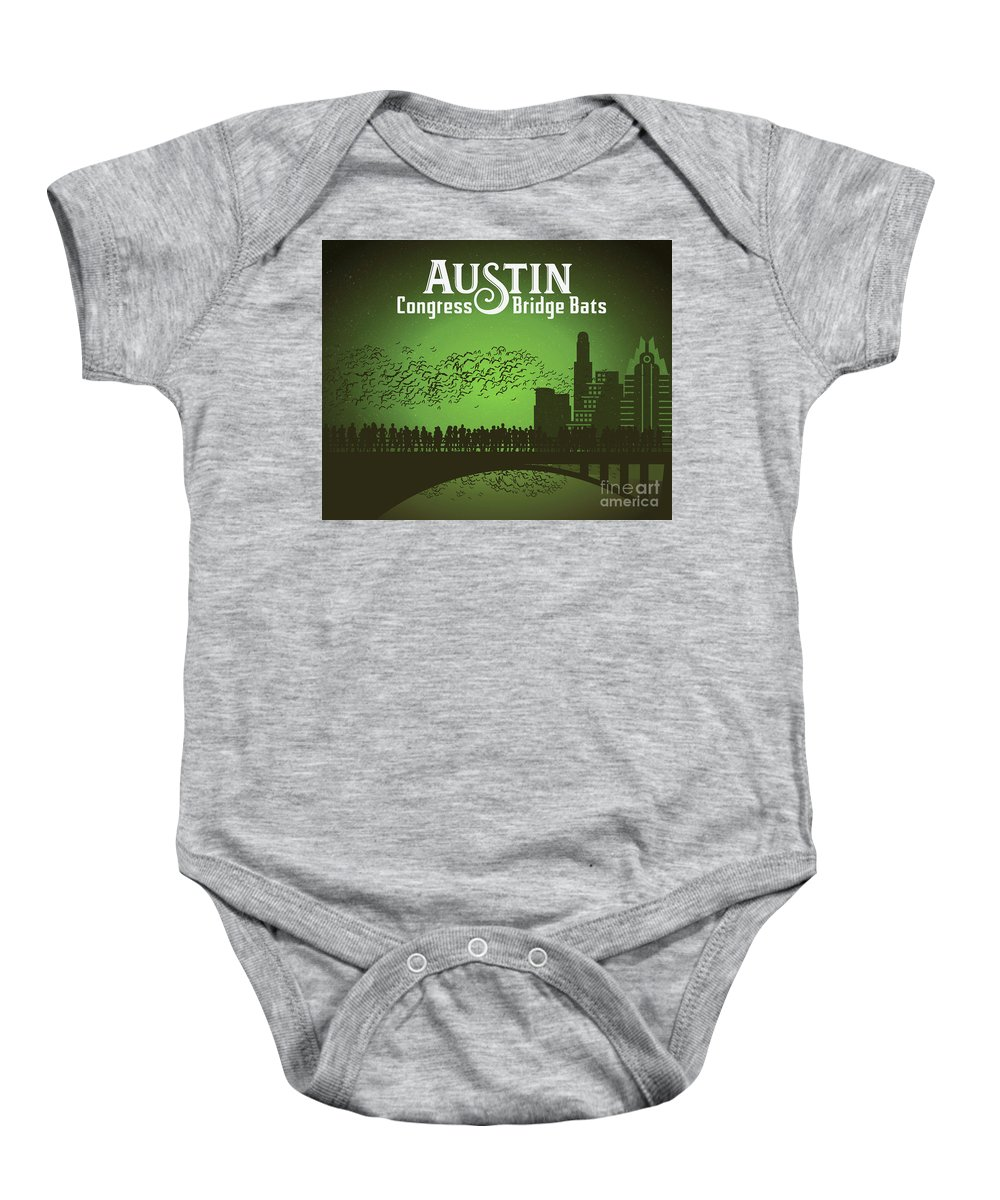 Austin Congress Bridge Bats In Green Silhouette Baby Onesie featuring the photograph Austin Congress Bridge Bats In Green Silhouette by Weird Austin Photos
