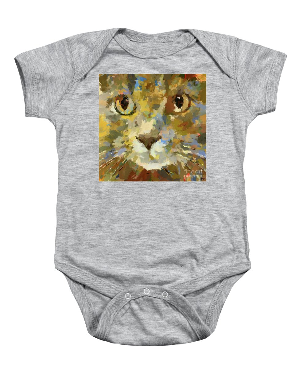 Autumn Baby Onesie featuring the painting Autumn Cat by Dragica Micki Fortuna