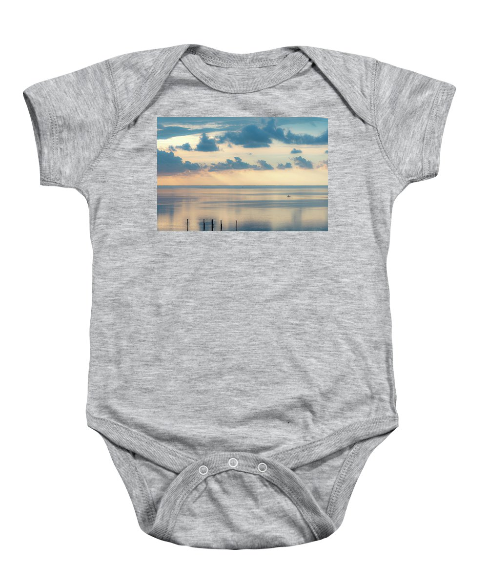 Vacation Baby Onesie featuring the photograph Beautiful Clouds Over Pamlico Sound by Anthony Doudt