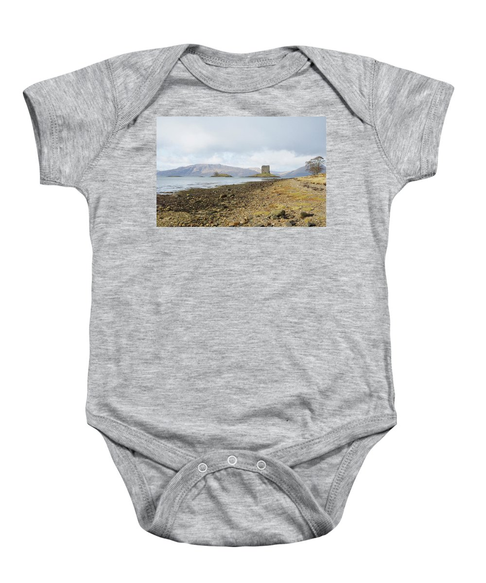 Castle Baby Onesie featuring the photograph castle Stalker in late autumn by Victor Lord Denovan