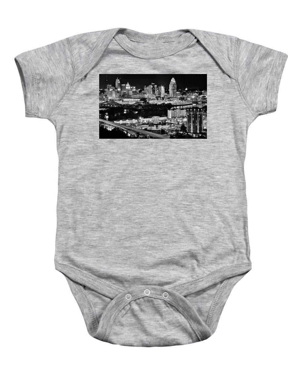 Cincinnati Baby Onesie featuring the photograph Cincinnati Covington And Ohio River by Frozen in Time Fine Art Photography