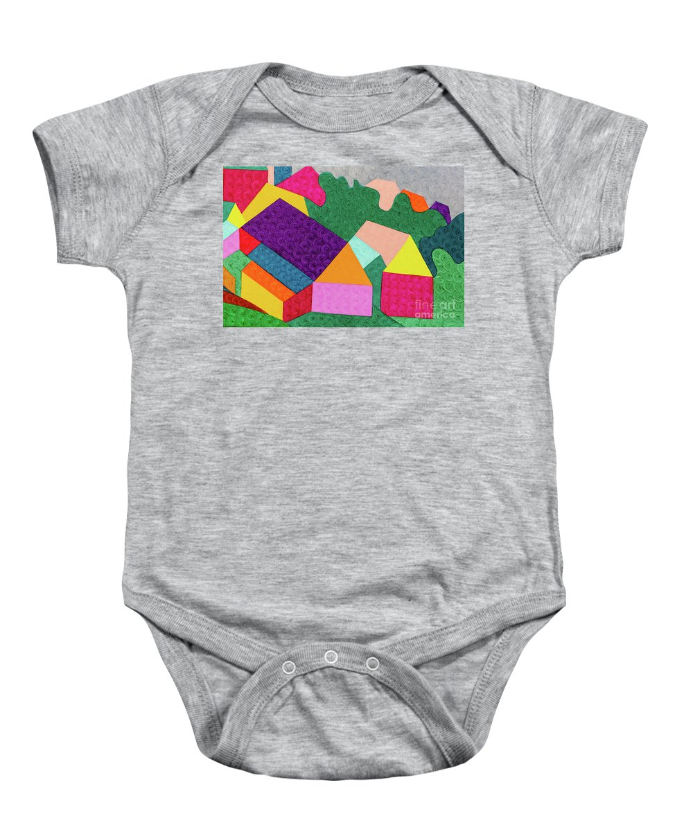 Brightcolor Baby Onesie featuring the painting City 3 by Natalia Lvova