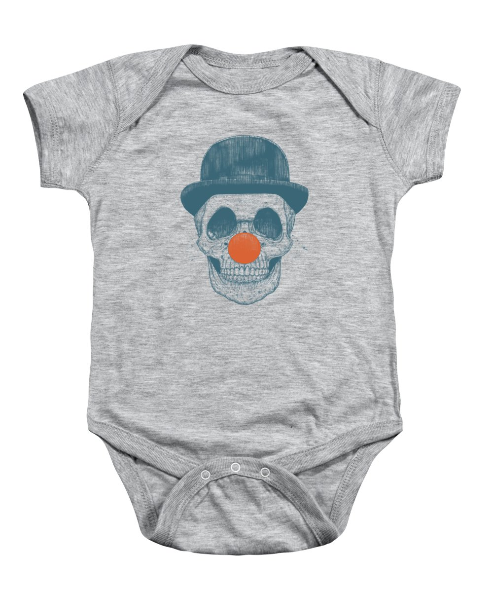 Skull Baby Onesie featuring the drawing Dead Clown by Balazs Solti