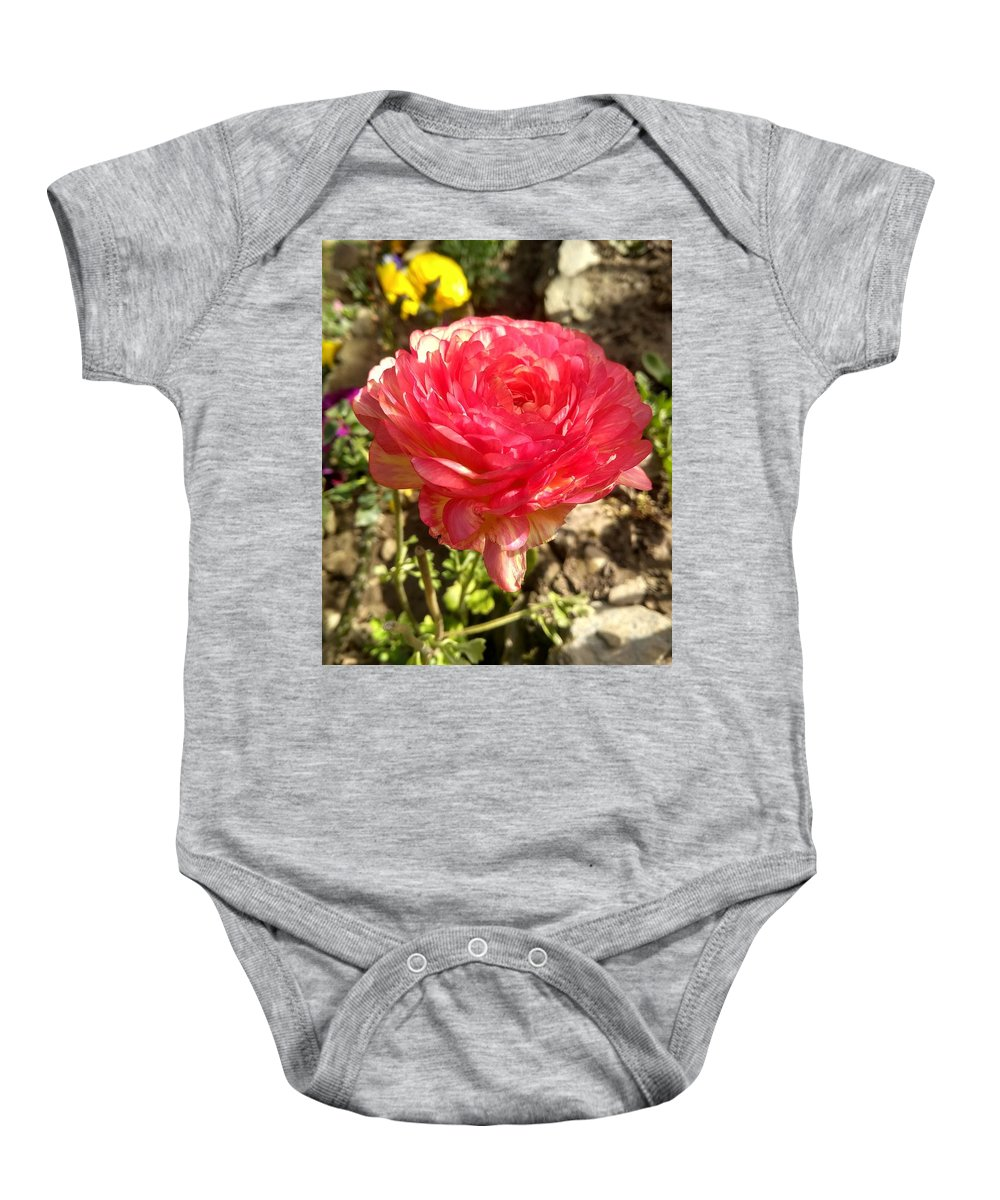 Baby Onesie featuring the photograph Double Coloured Rose by Nimu Bajaj and Seema Devjani