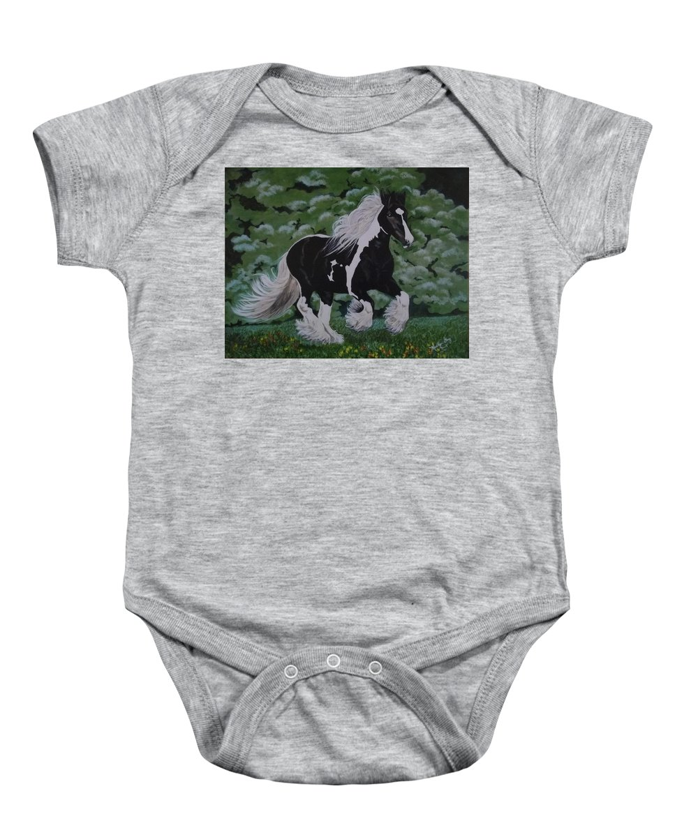 Gypsy Vanner Baby Onesie featuring the painting Dream by Marilyn Gray