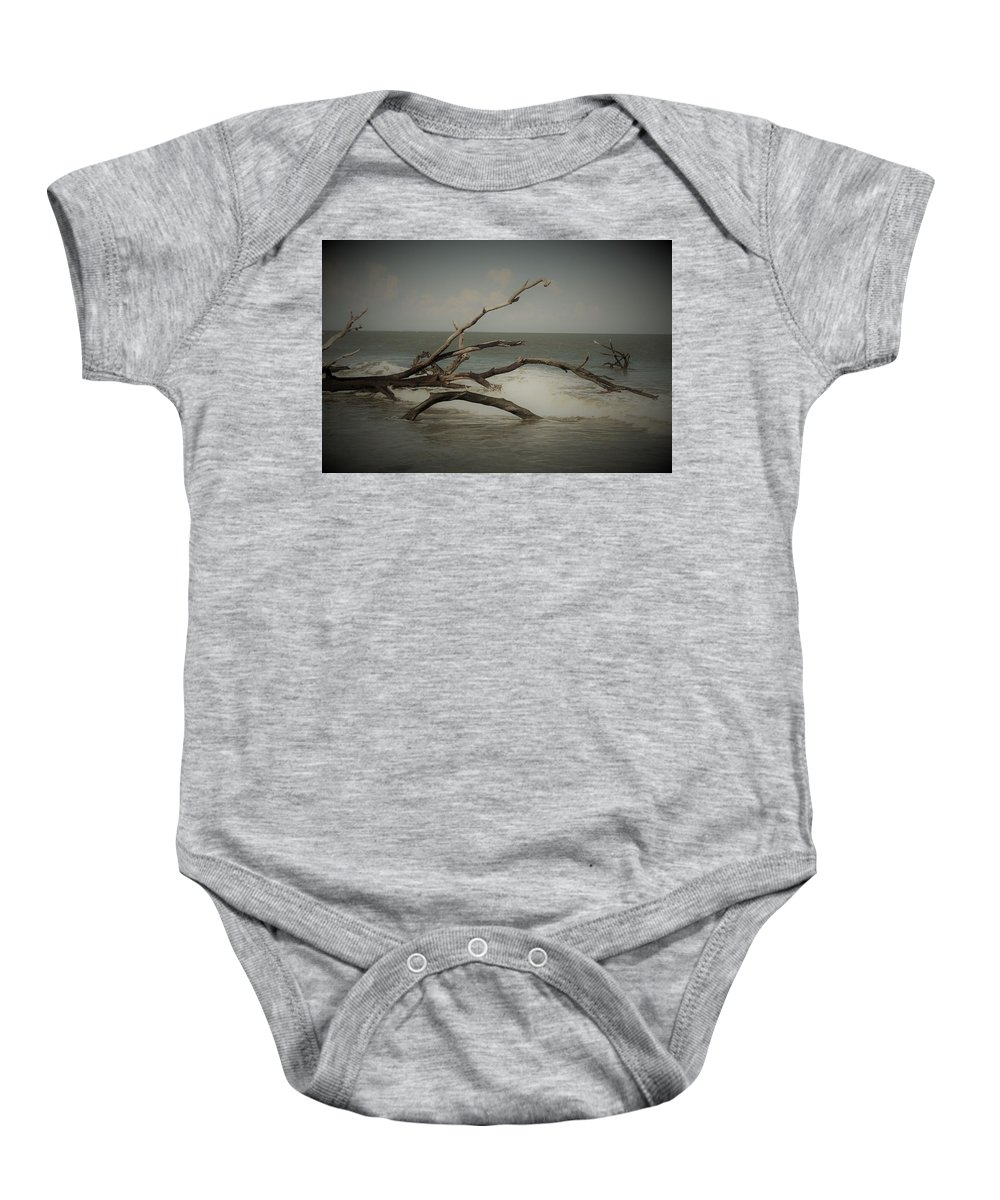 Driftwood Baby Onesie featuring the photograph Drifting Along With The Tide by Carol McGrath