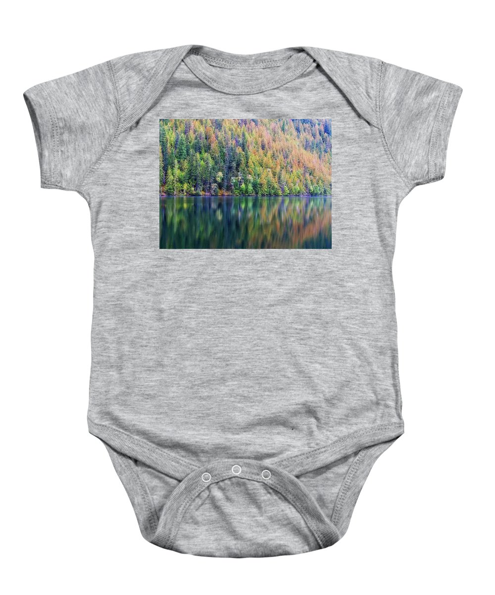 Landscape Baby Onesie featuring the photograph Echo Lake Autumn Shore by Allan Van Gasbeck
