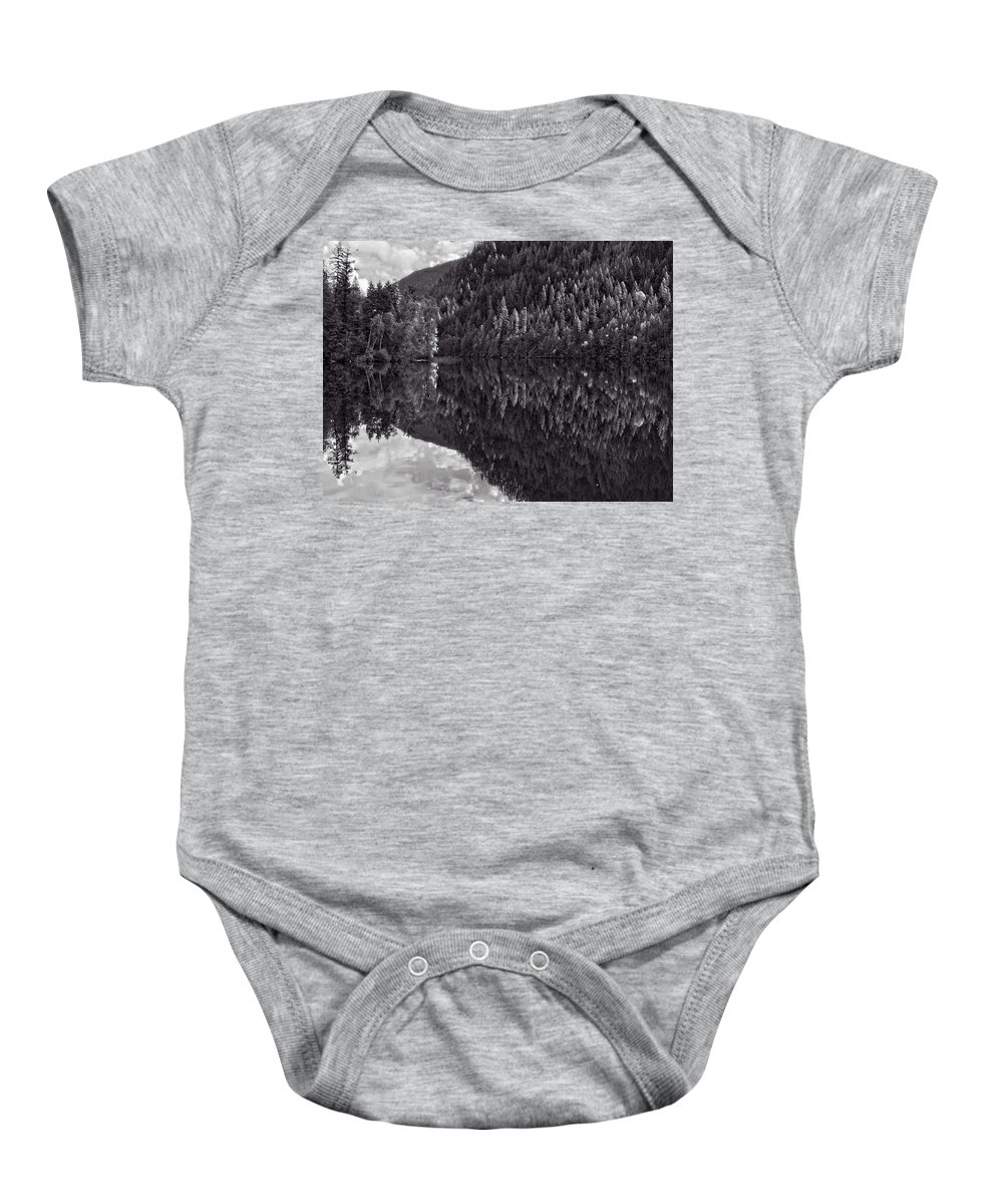 Landscape Baby Onesie featuring the photograph Echo Lake Reflection Black And White by Allan Van Gasbeck