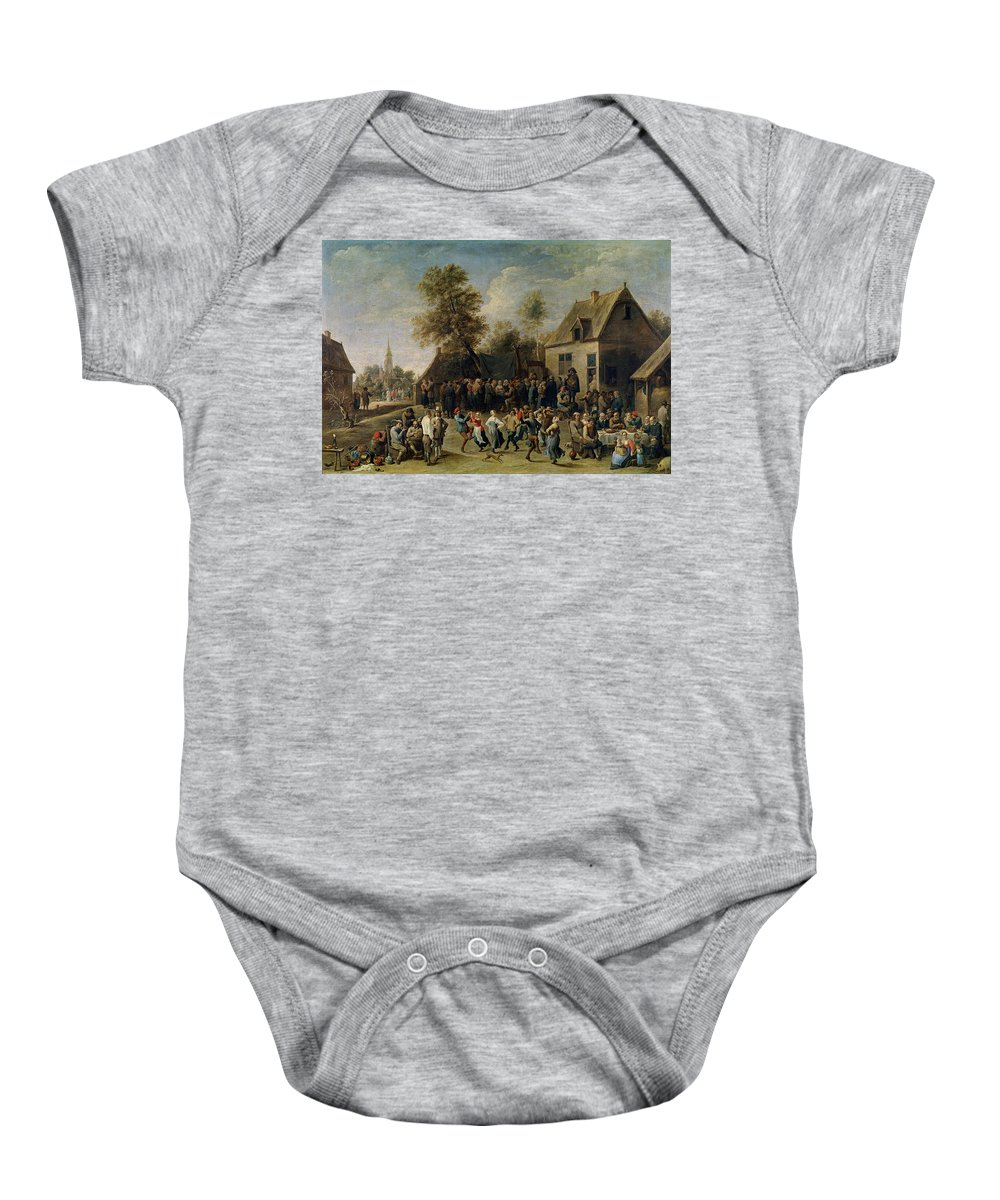 Teniers David Baby Onesie featuring the painting Fiesta Campestre  by Teniers David